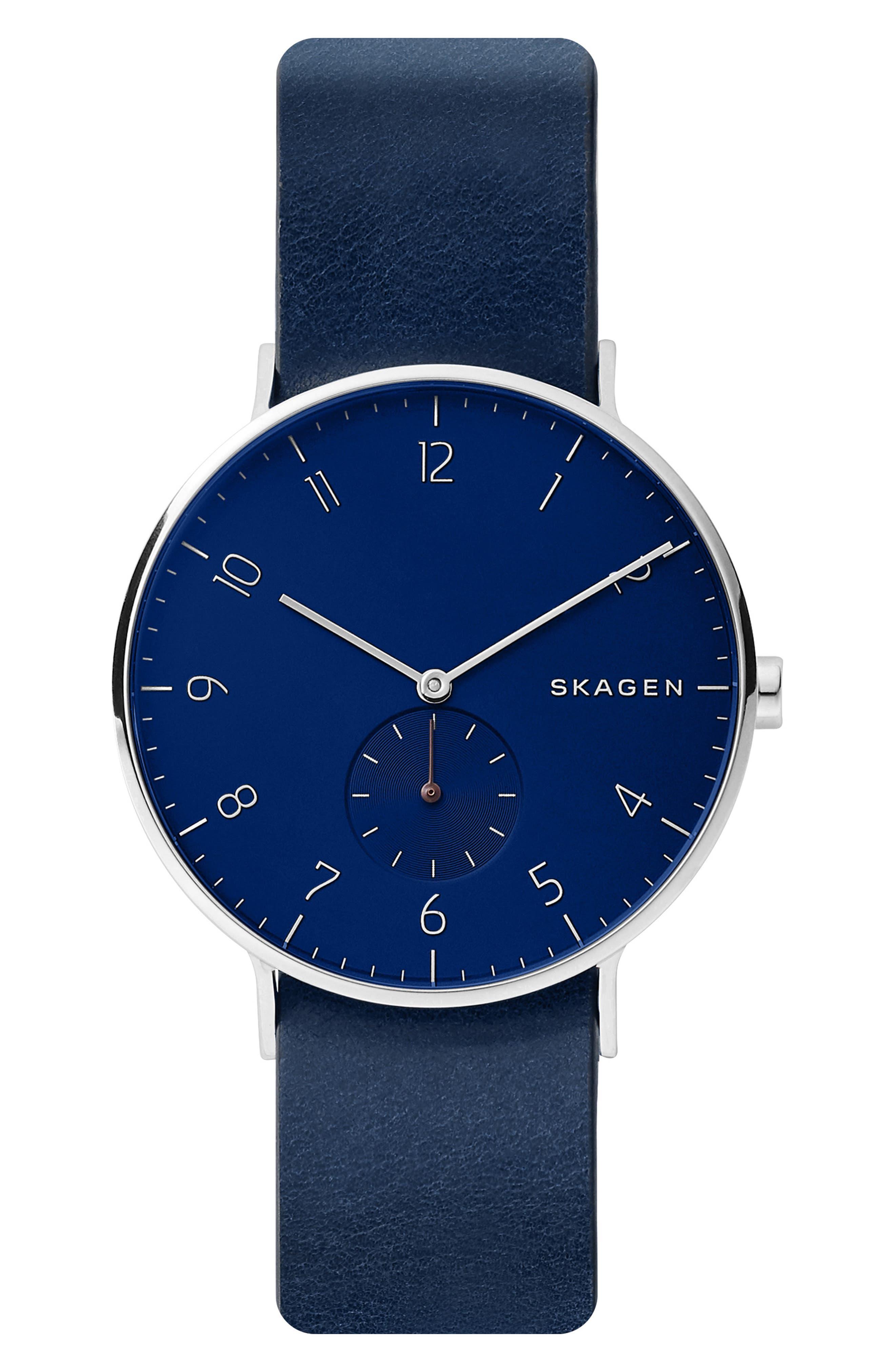 SKAGEN, Aaren Reversible Leather Strap Watch, 40mm, Alternate thumbnail 6, color, BLUE/ SILVER