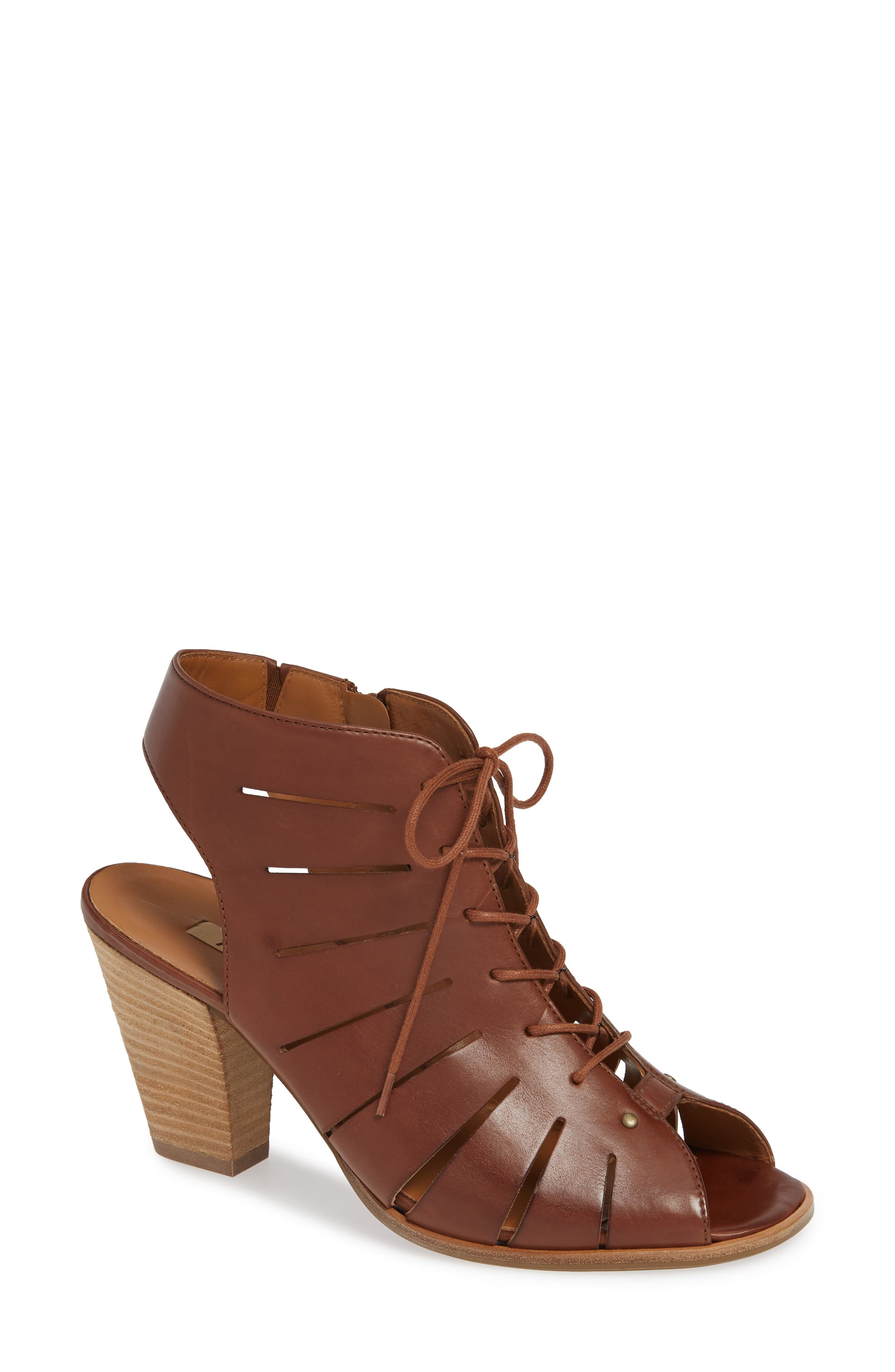 PAUL GREEN 'Cosmo' Peep Toe Sandal, Main, color, NOUGAT LEATHER
