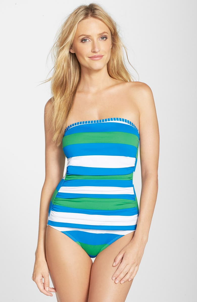 3e0fe3dd17ae0 TOMMY BAHAMA Rugby Stripe Bandeau One-Piece Swimsuit, Main, color, 400