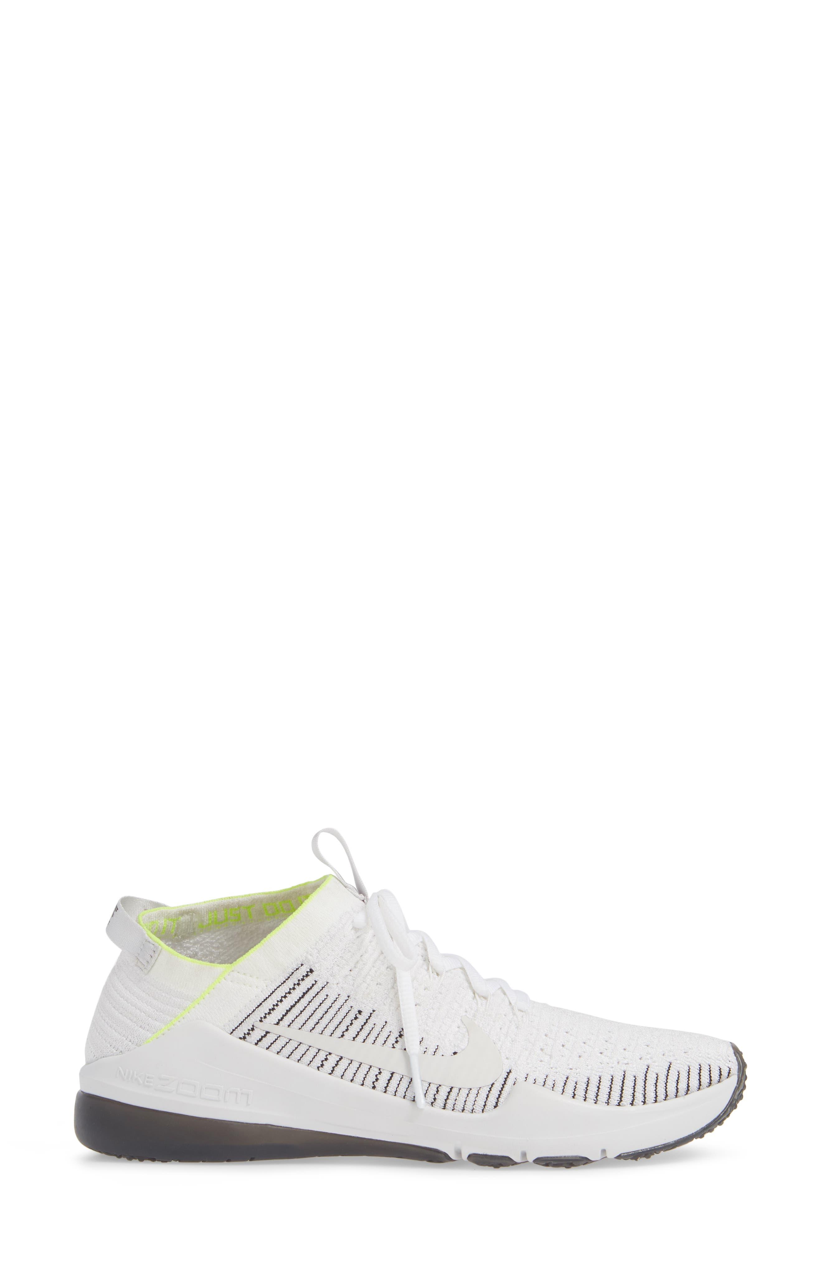 NIKE, Air Zoom Fearless Flyknit 2 Training Sneaker, Alternate thumbnail 3, color, WHITE/ PLATINUM TINT/ BLACK