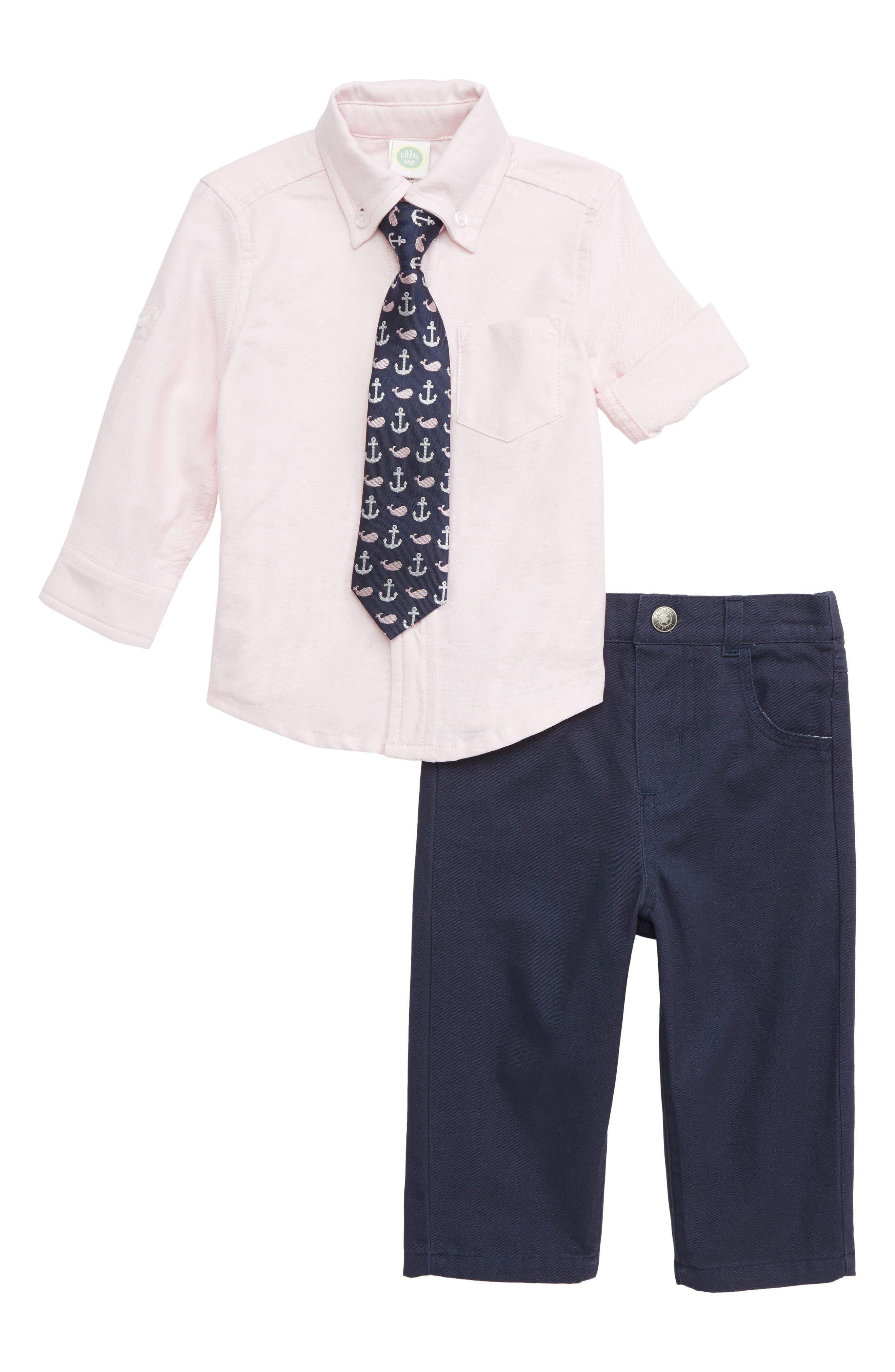LITTLE ME Oxford Shirt, Pants & Tie Set, Main, color, 415