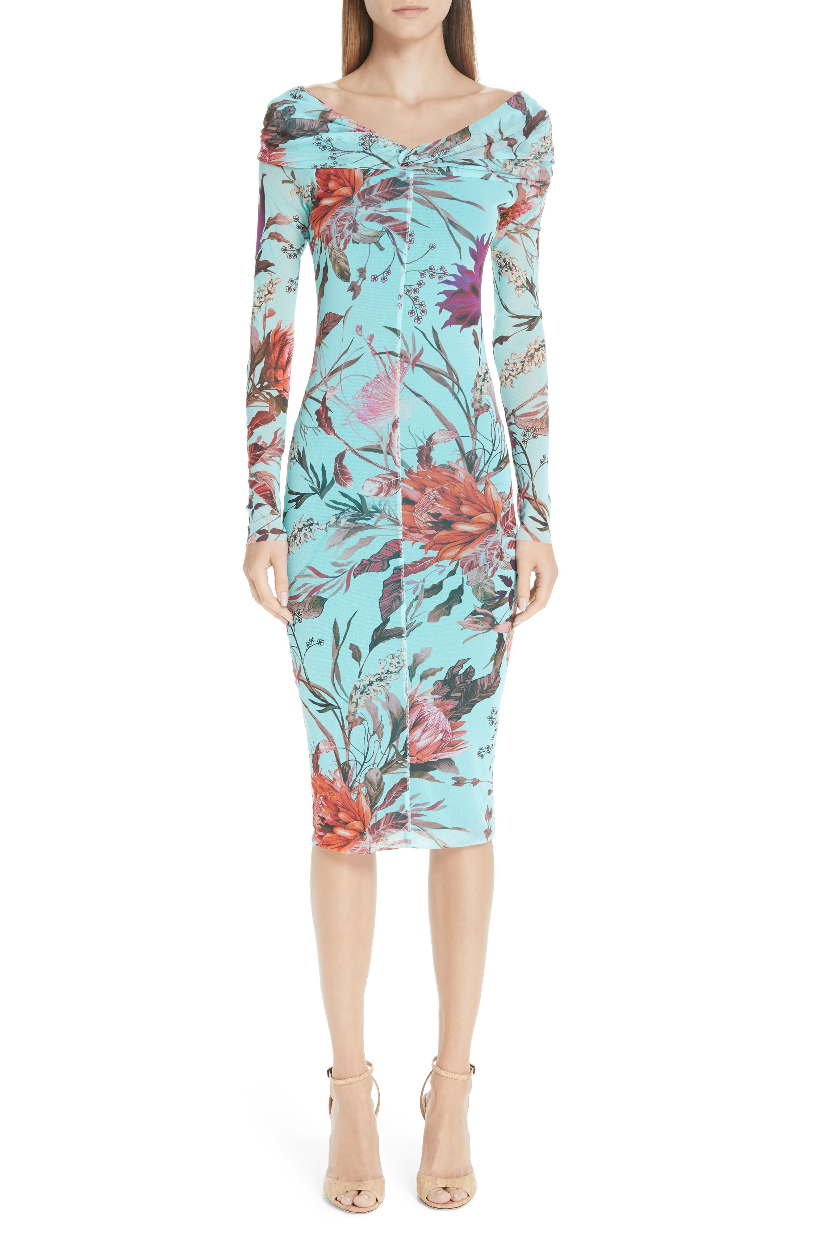 Fuzzi Floral Tulle Off The Shoulder Dress, Blue
