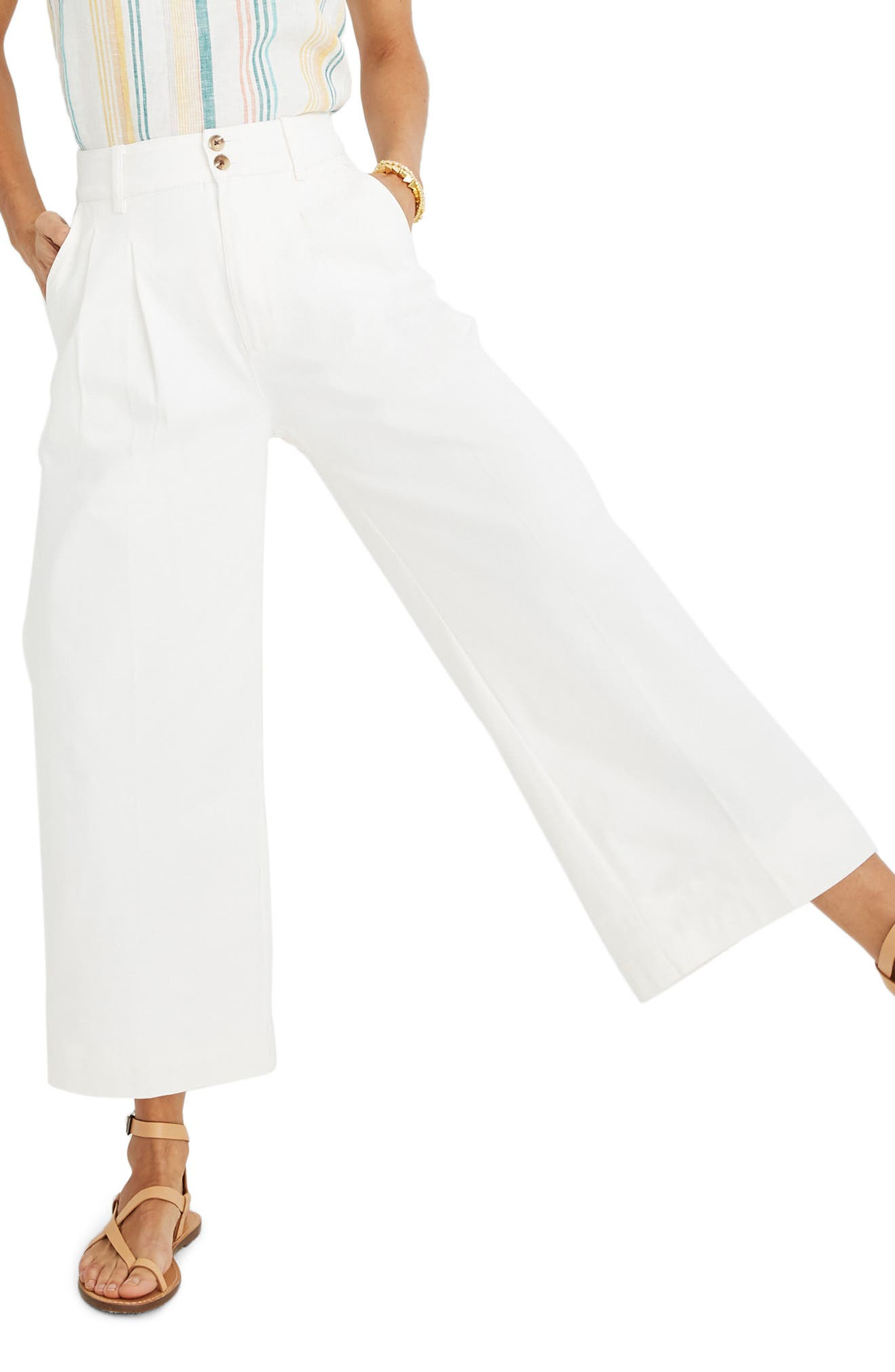 MADEWELL, High Waist Crop Wide Leg Pants, Main thumbnail 1, color, LIGHTHOUSE