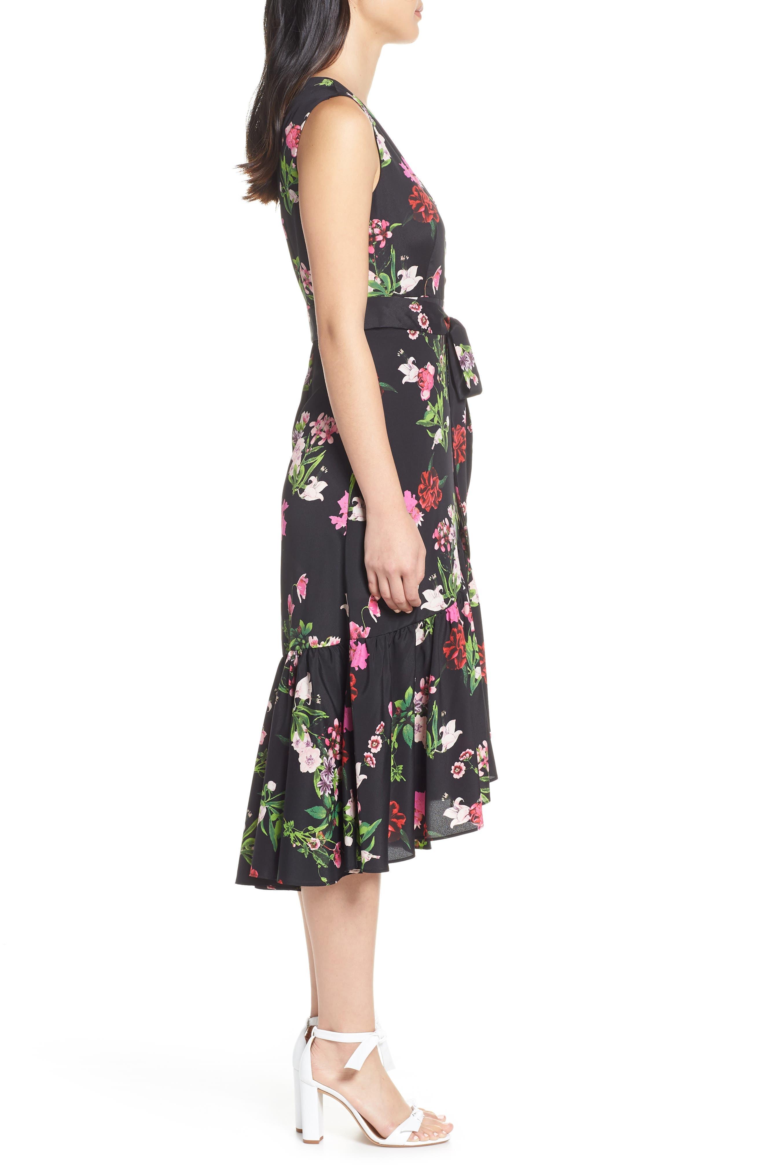 ELIZA J, Ruffle Hem Faux Wrap Dress, Alternate thumbnail 5, color, BLACK