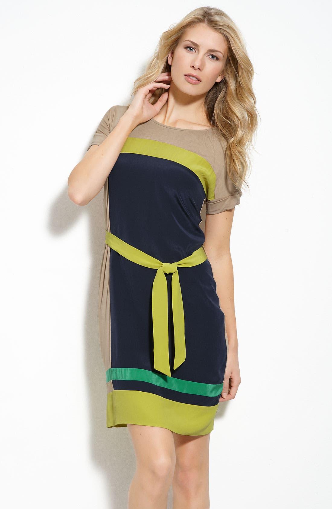 BCBGMAXAZRIA, 'Louella' Colorblock Tie Waist Silk Dress, Main thumbnail 1, color, 400