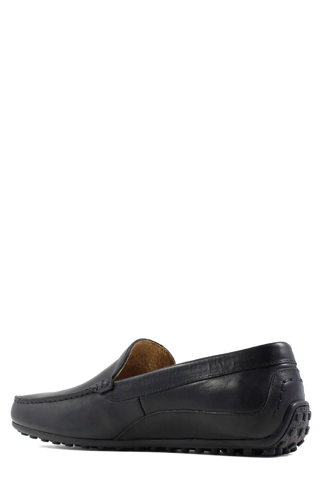 FLORSHEIM, Oval Driving Shoe, Alternate thumbnail 5, color, BLACK LEATHER