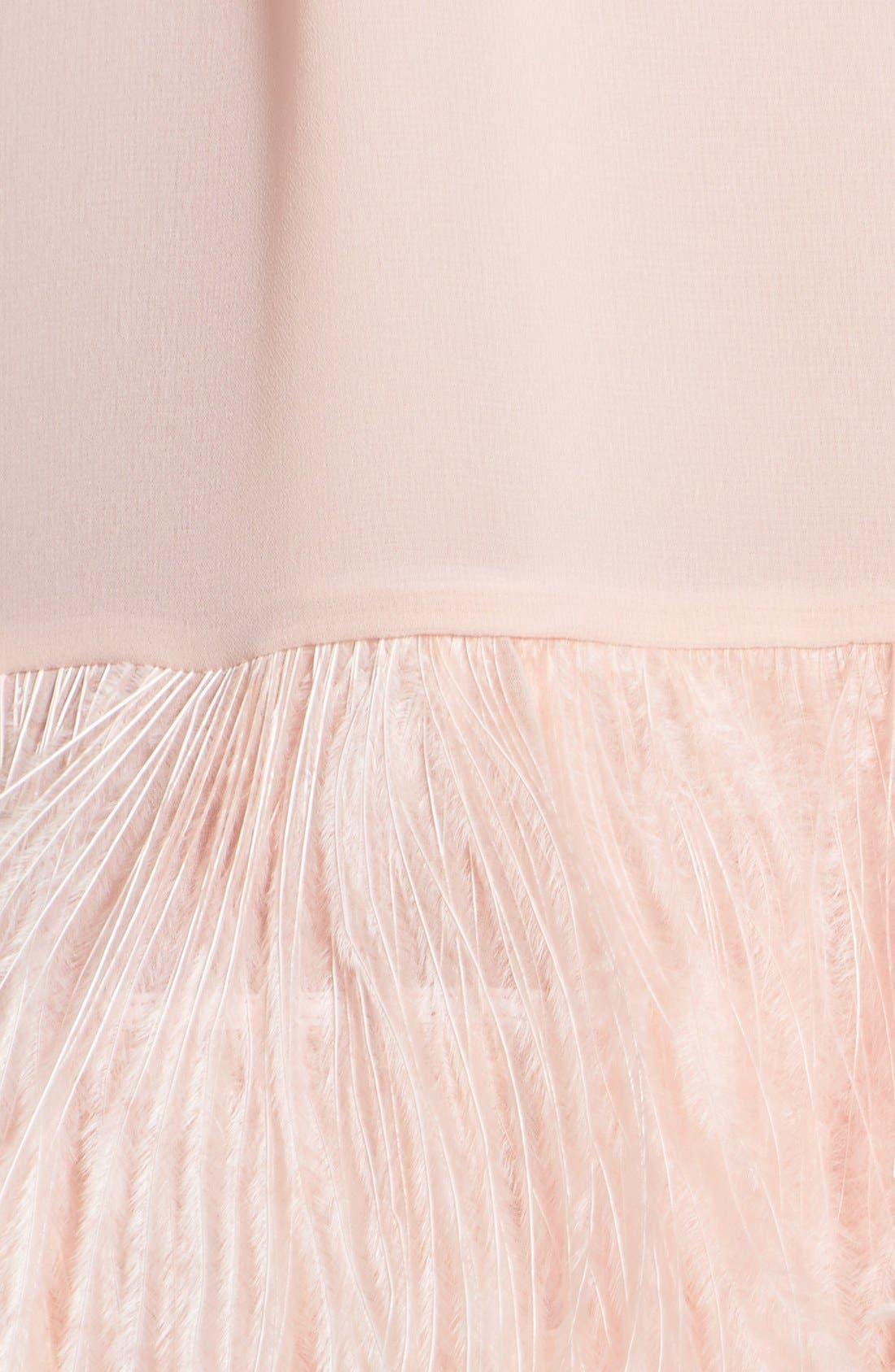 ERIN ERIN FETHERSTON, 'Phoebe' Ostrich Feather Hem Chiffon Shift Dress, Alternate thumbnail 2, color, 668
