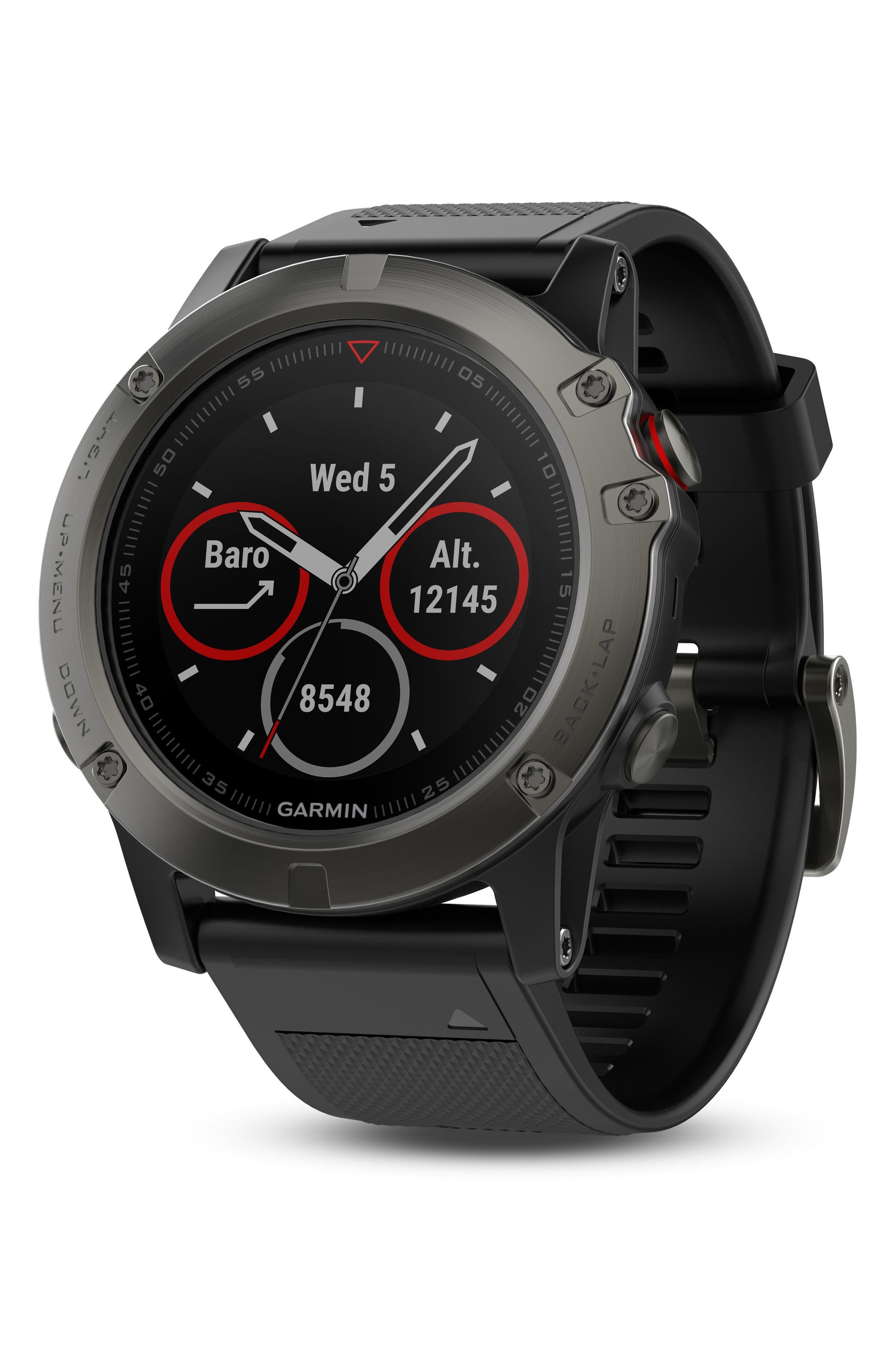 GARMIN, fenix<sup>®</sup> 5X Sapphire Premium Multisport GPS Watch, 51mm, Main thumbnail 1, color, BLACK/ SLATE GRAY SAPPHIRE