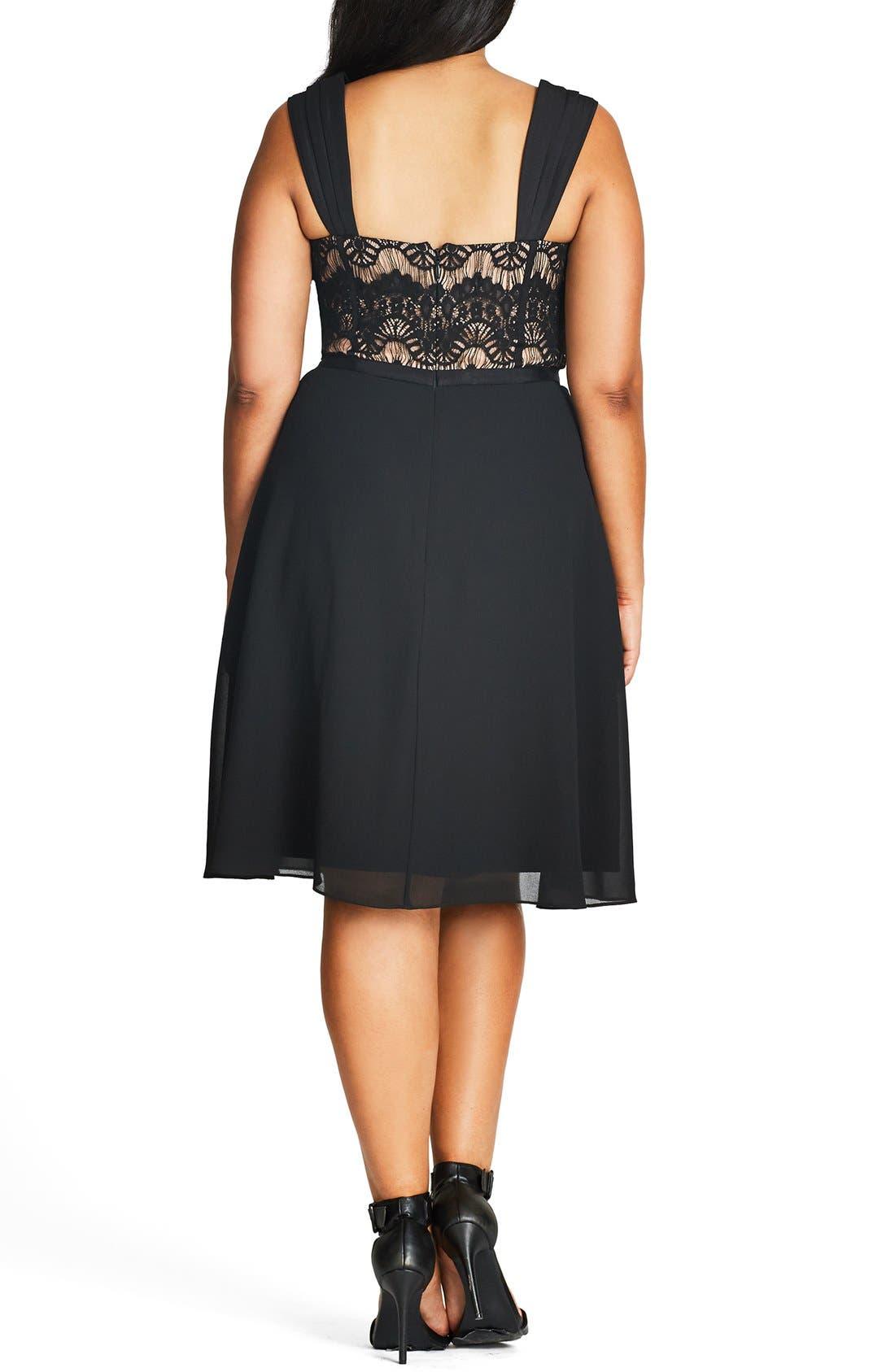 CITY CHIC, 'Eyelash Evie' Lace & Chiffon Cocktail Dress, Alternate thumbnail 3, color, BLACK