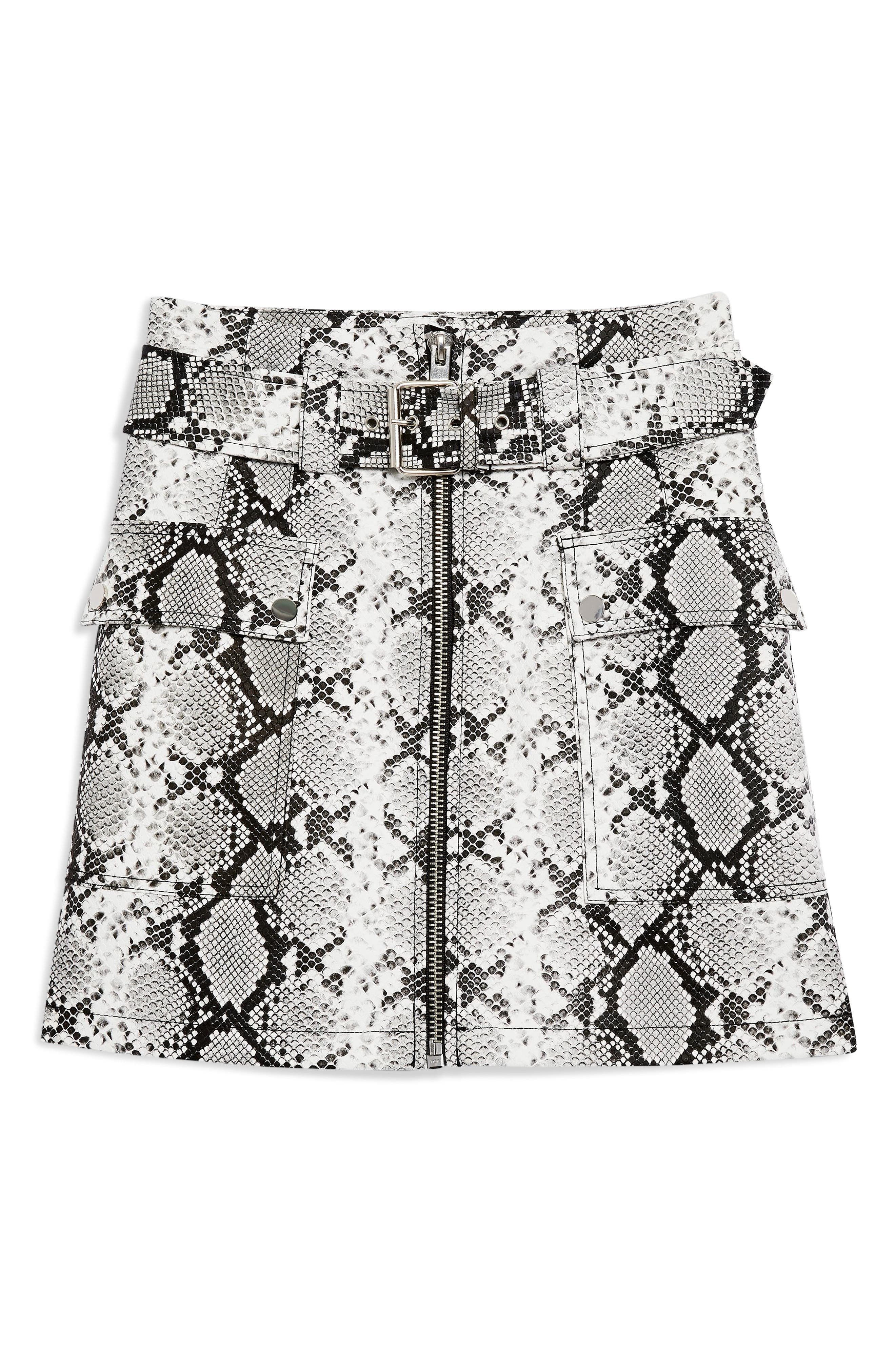 TOPSHOP, Belted Faux Leather Snake Print Miniskirt, Alternate thumbnail 4, color, 100