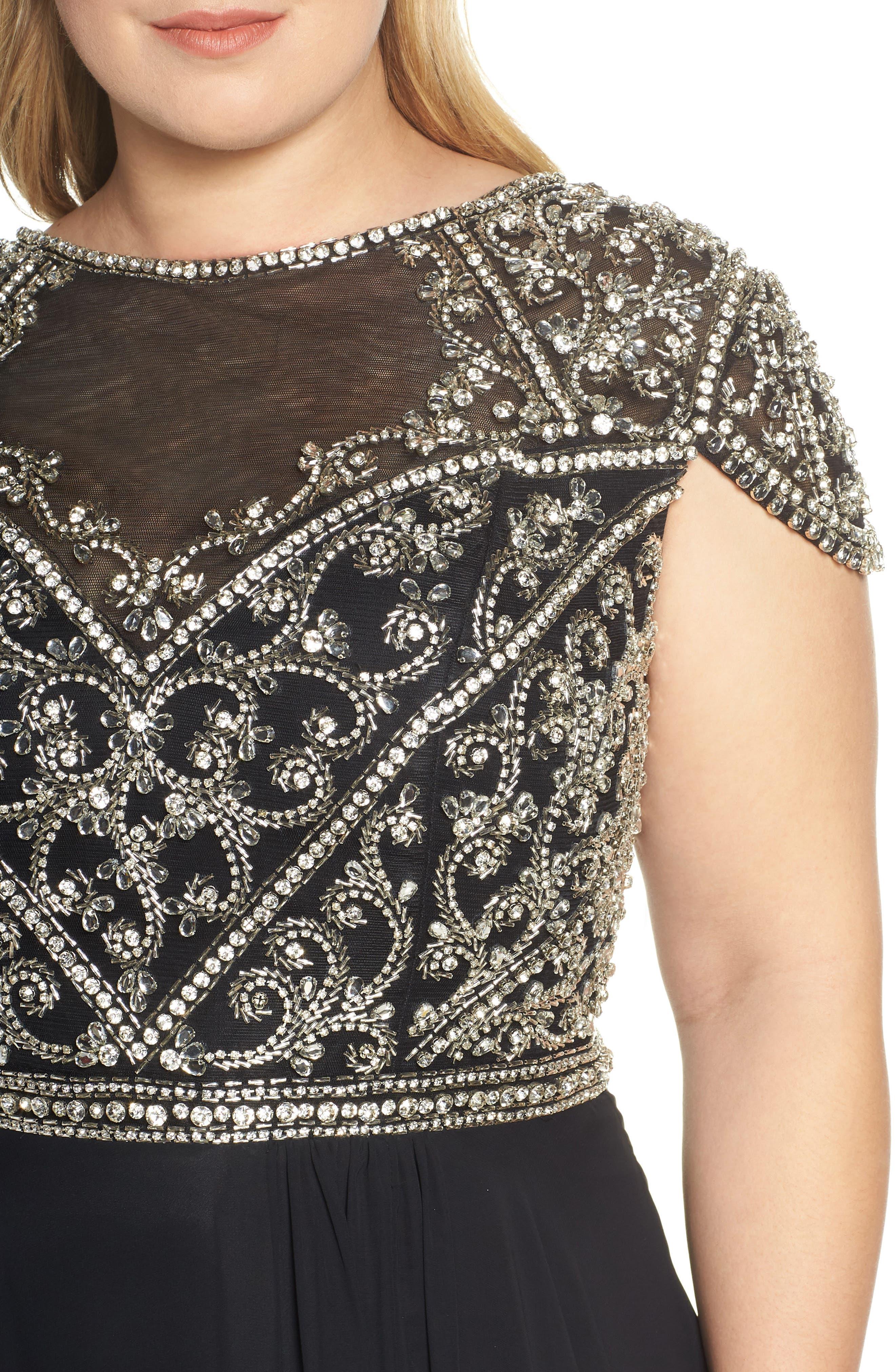 MAC DUGGAL, Embellished Bodice Evening Dress, Alternate thumbnail 5, color, BLACK