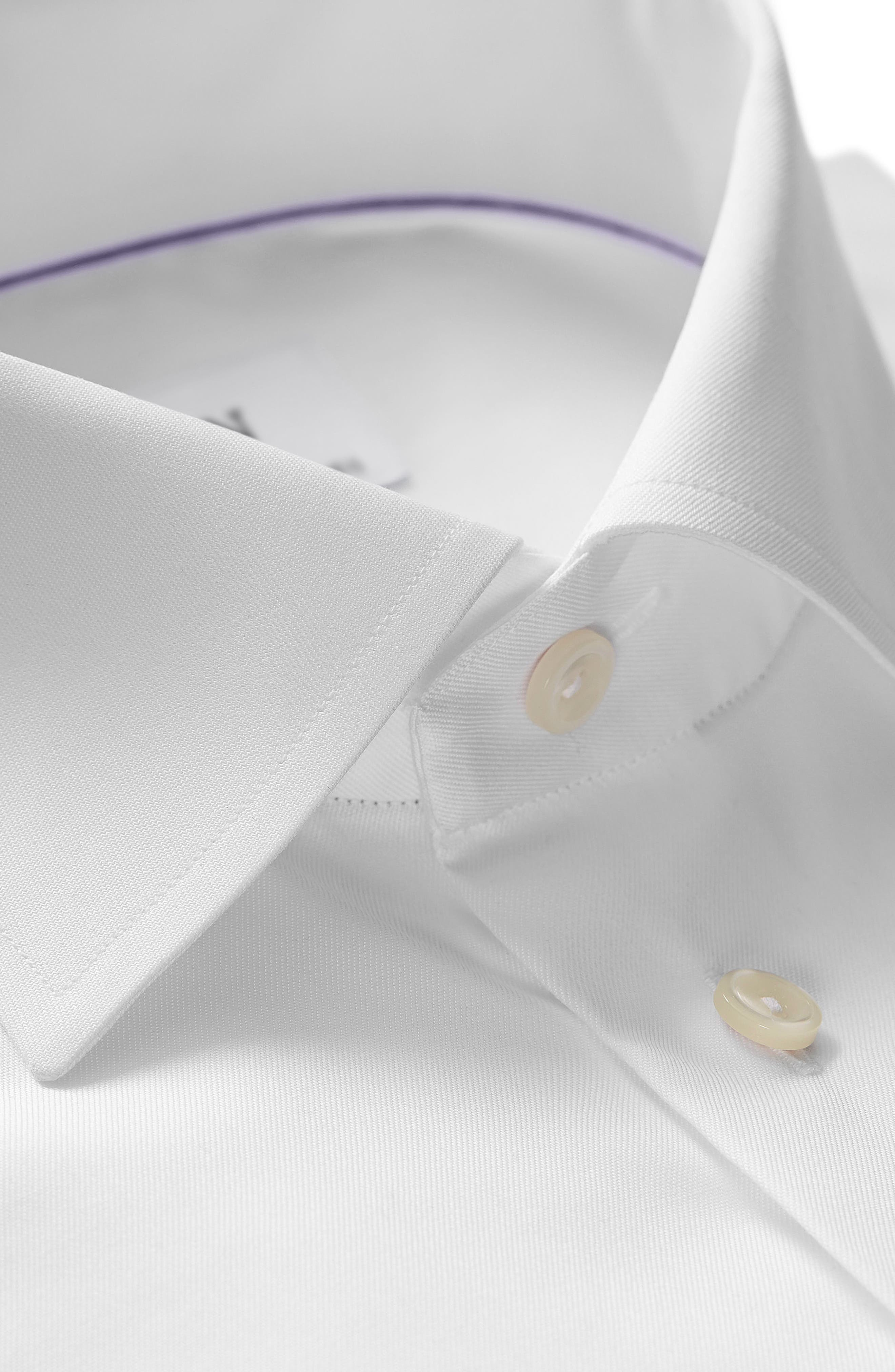 ETON, Slim Fit Twill Dress Shirt, Alternate thumbnail 3, color, WHITE