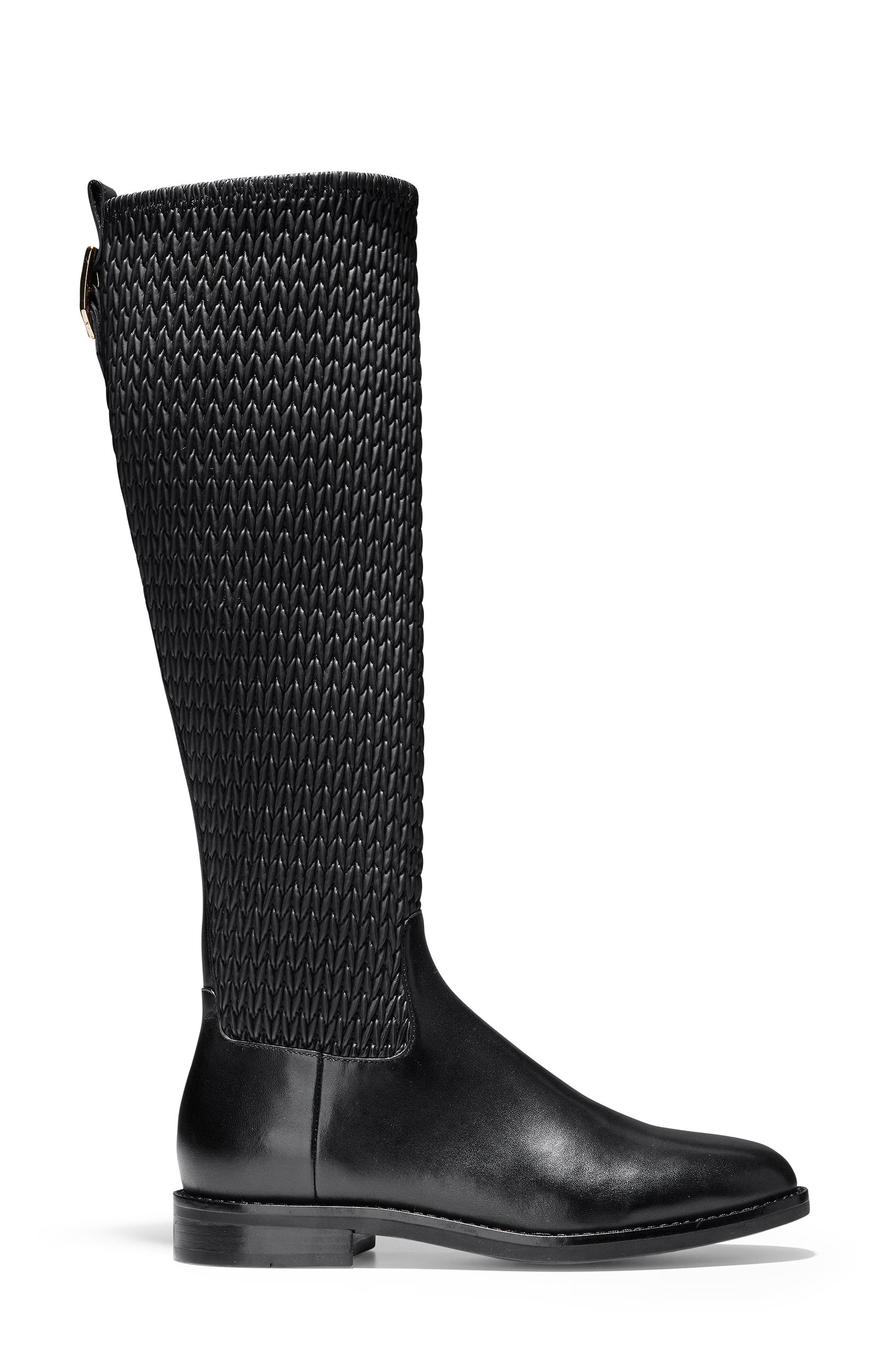 COLE HAAN, Lexi Grand Knee High Stretch Boot, Alternate thumbnail 3, color, BLACK LEATHER