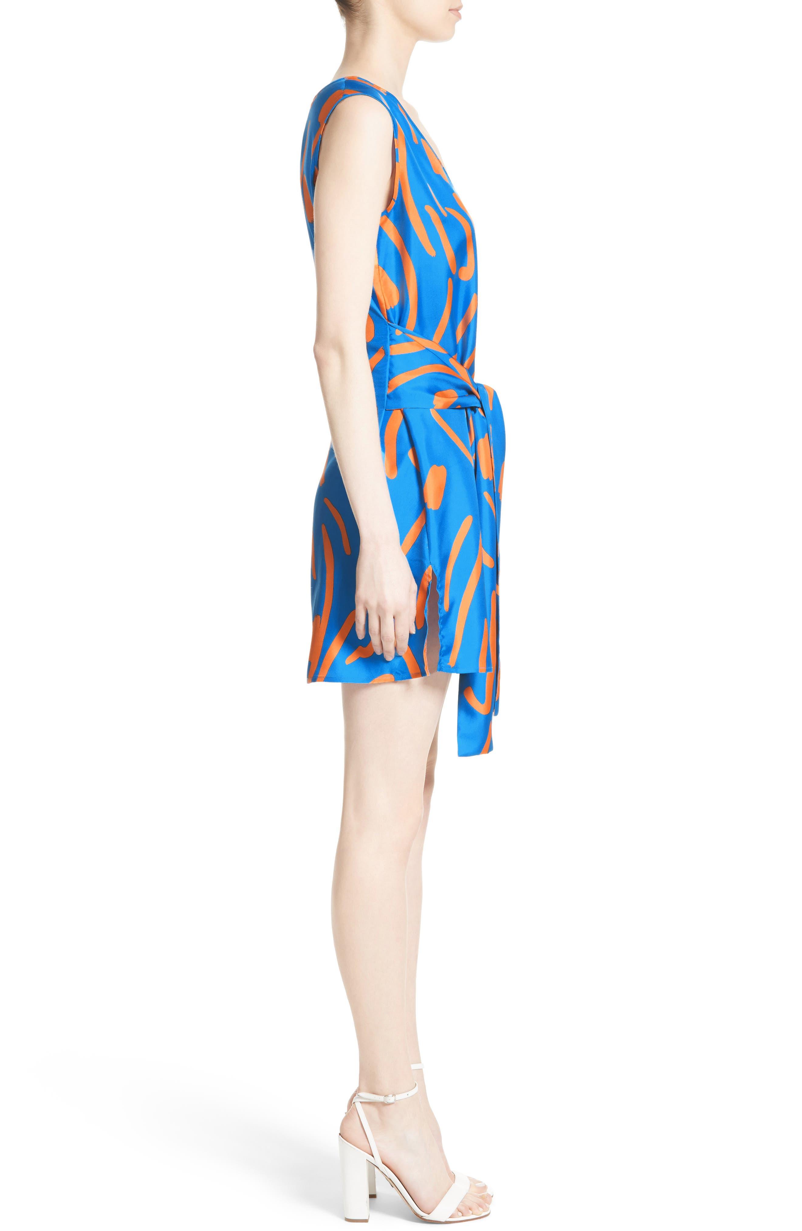 DIANE VON FURSTENBERG, Tie Front Faux Wrap Silk Dress, Alternate thumbnail 3, color, 494