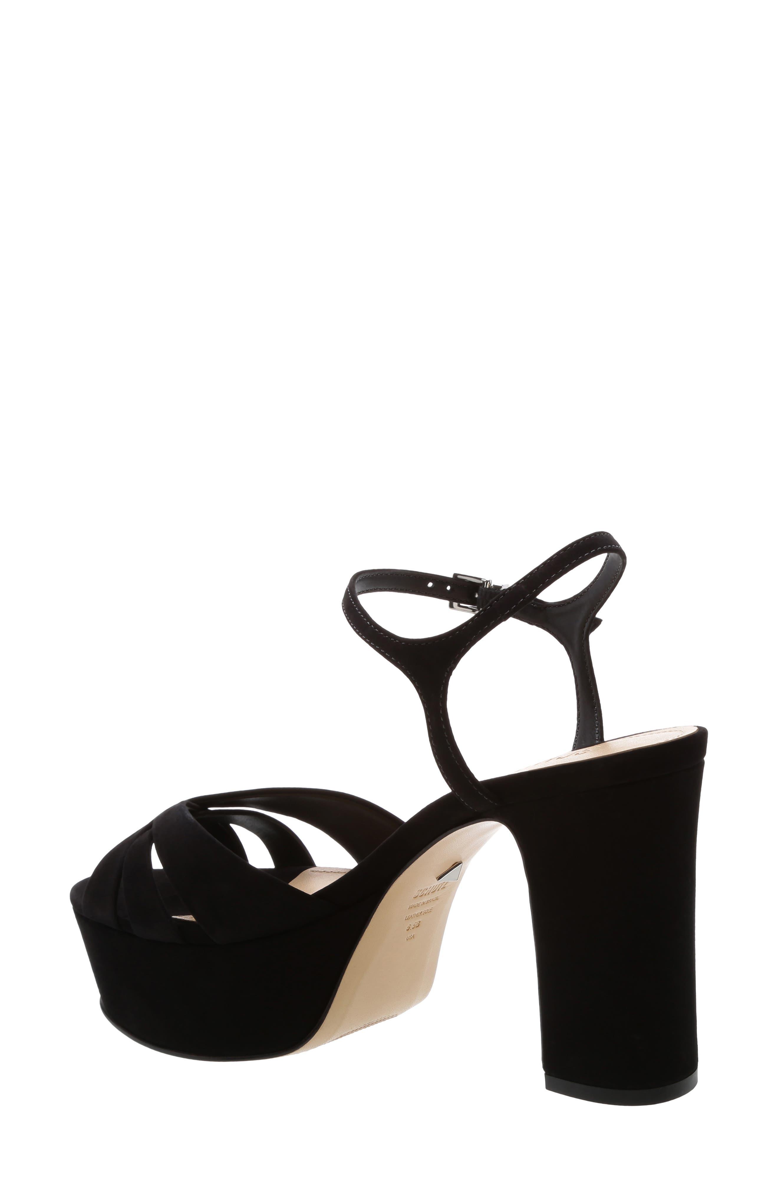 SCHUTZ, Keefa Platform Sandal, Alternate thumbnail 2, color, BLACK NUBUCK LEATHER