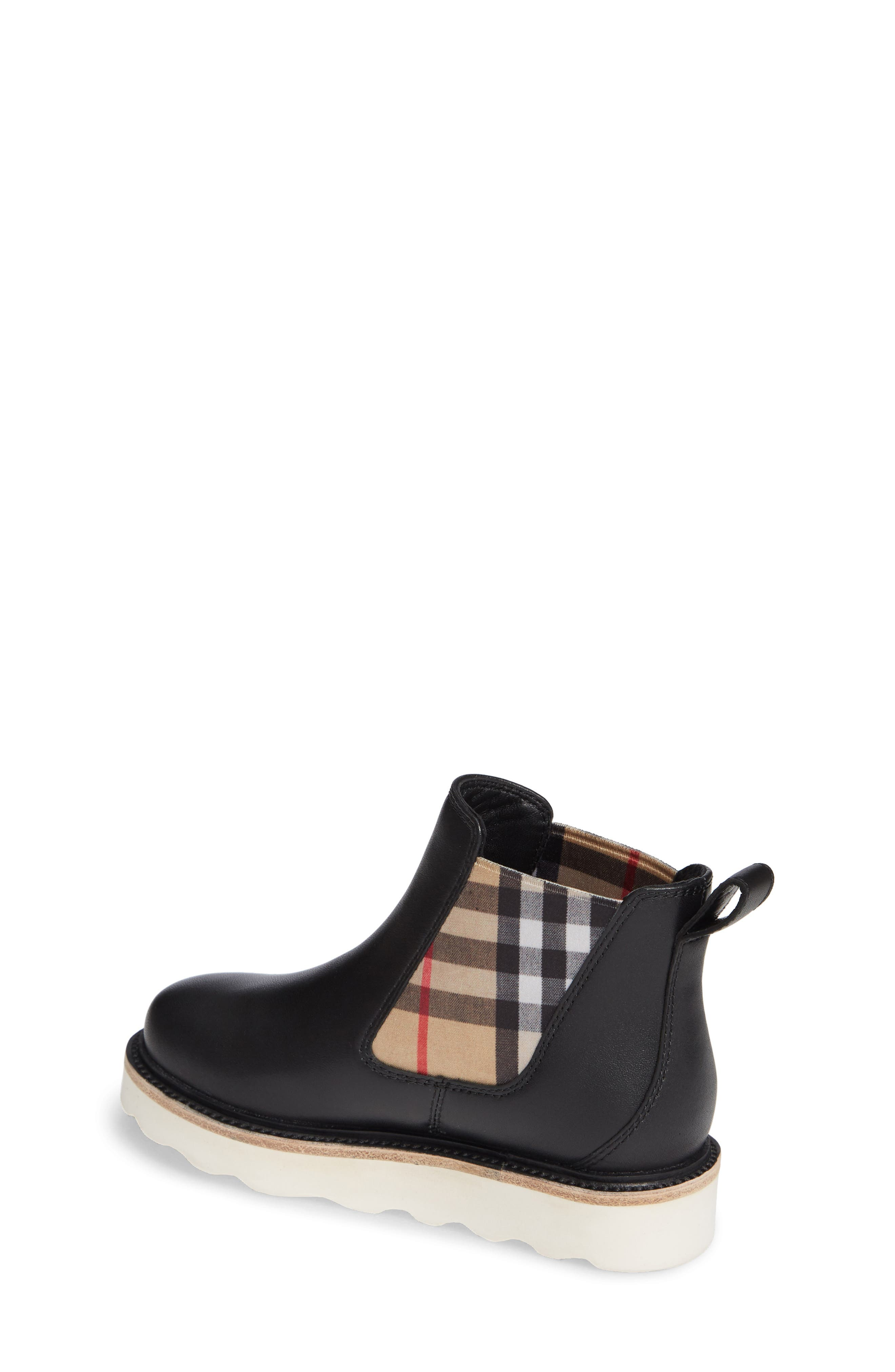 BURBERRY, Hayden Check Chelsea Bootie, Alternate thumbnail 2, color, BLACK