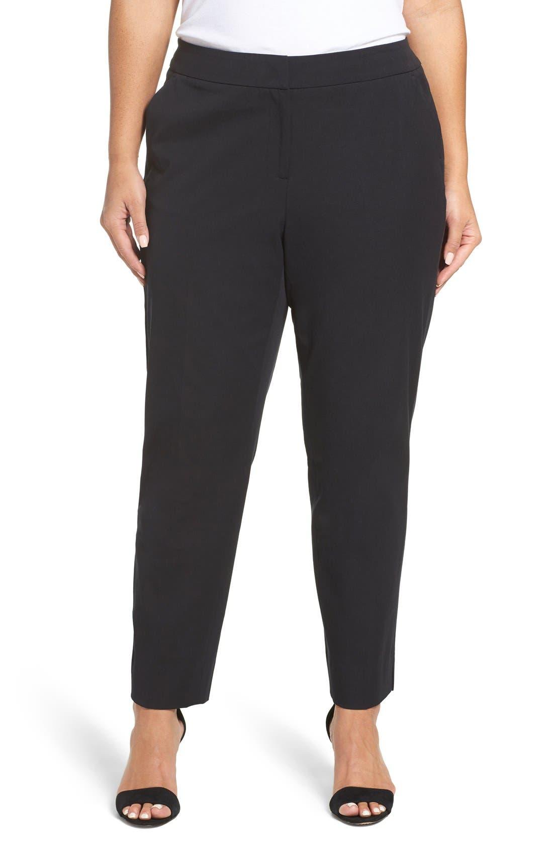 SEJOUR Straight Leg Ankle Pants, Main, color, BLACK
