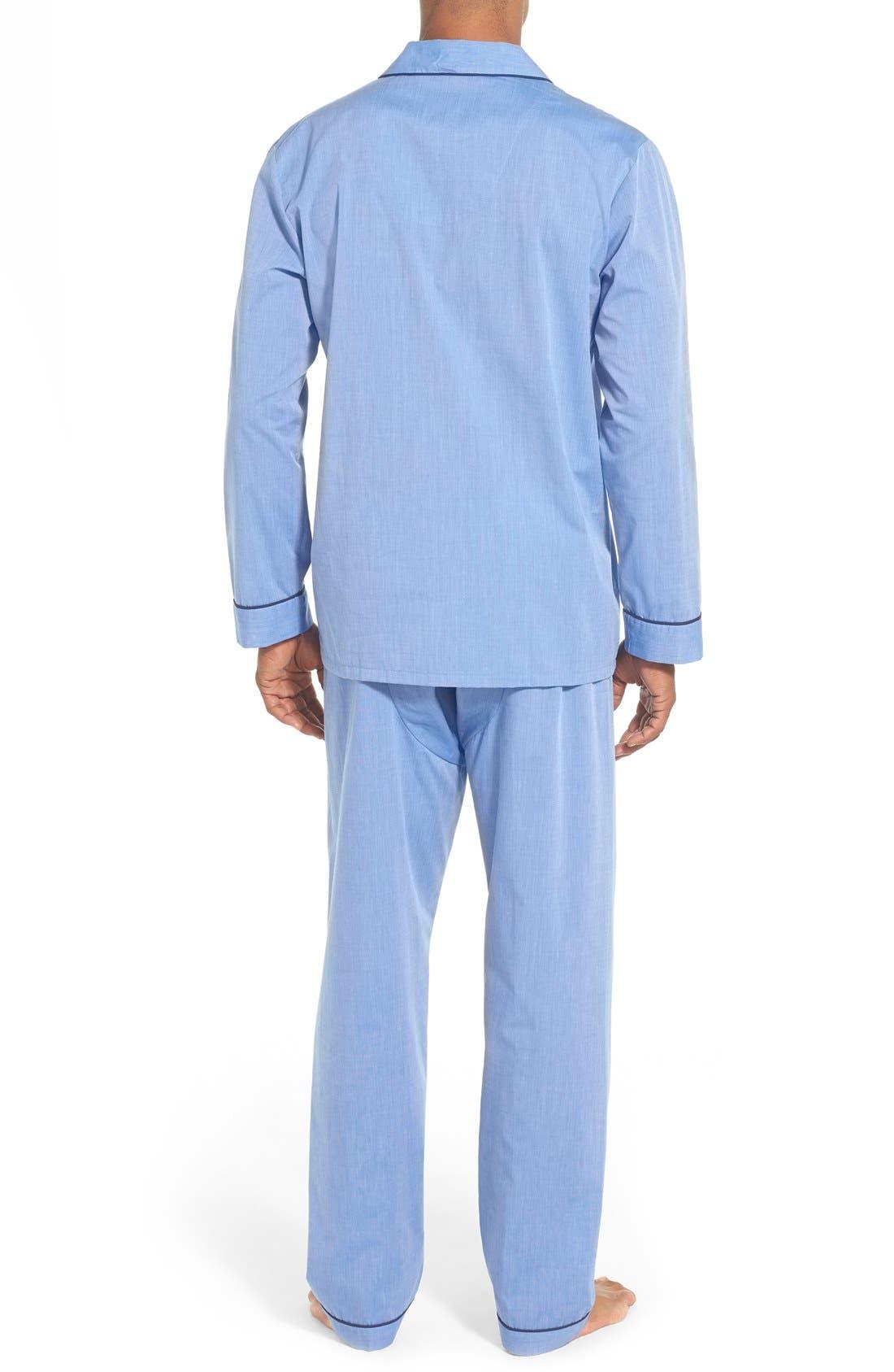 MAJESTIC INTERNATIONAL, Cotton Blend Pajamas, Alternate thumbnail 2, color, BLUE