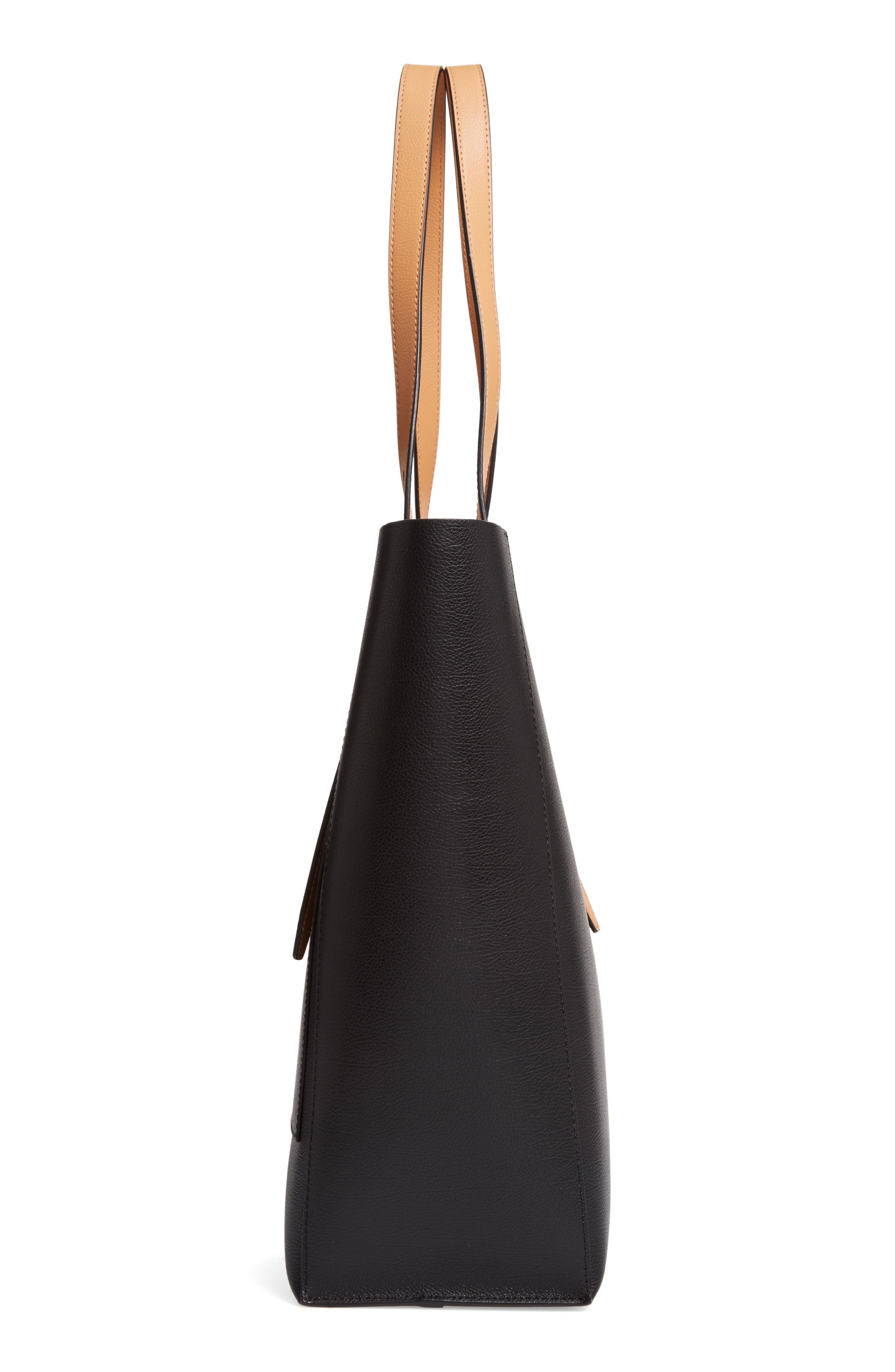REBECCA MINKOFF, Stella Leather Tote, Alternate thumbnail 6, color, BLACK/ HONEY