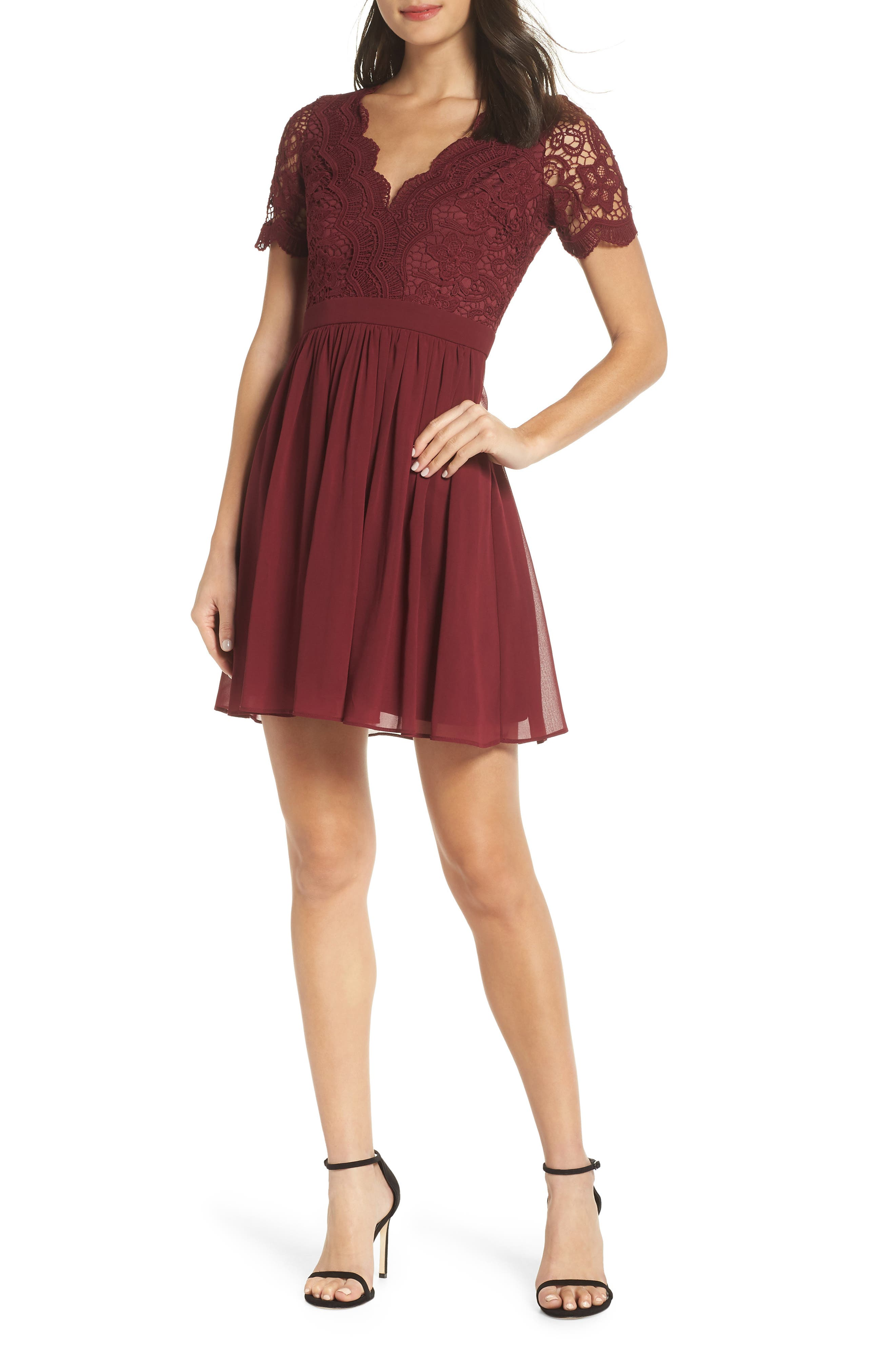 LULUS Angel in Disguise Lace & Chiffon Party Dress, Main, color, BURGUNDY
