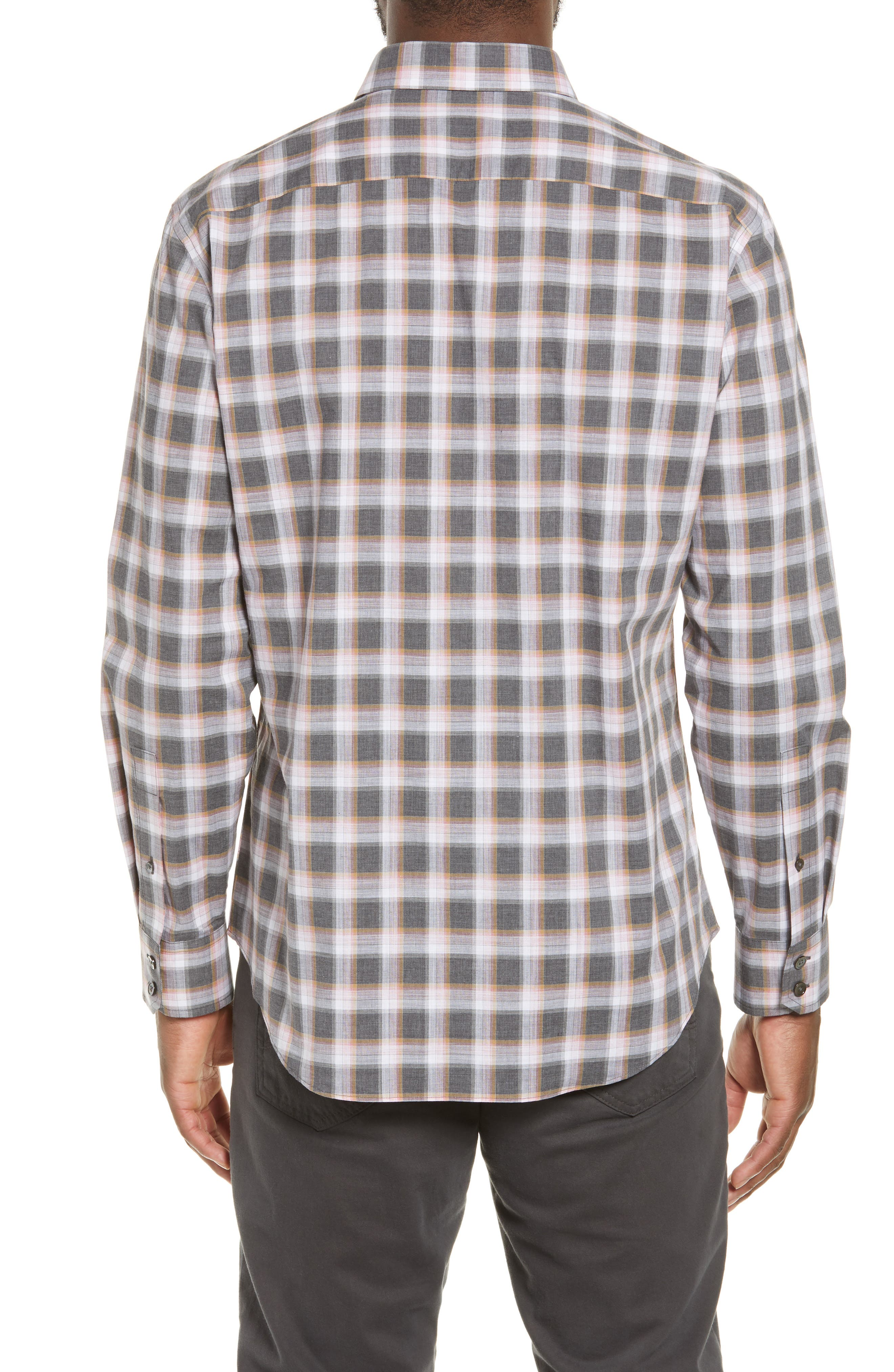 ZACHARY PRELL, Pagatpatan Regular Fit Plaid Sport Shirt, Alternate thumbnail 3, color, GREY