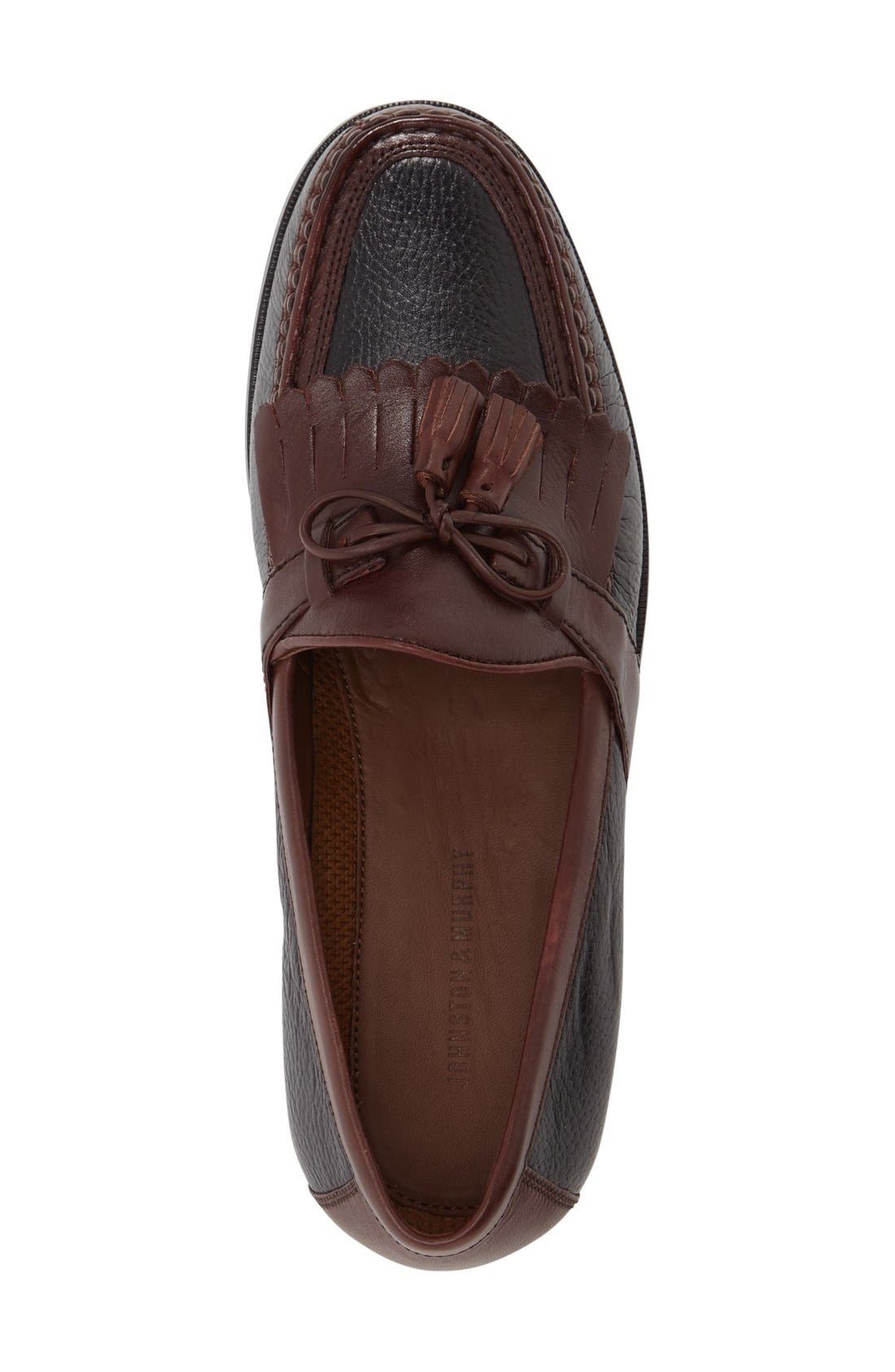 JOHNSTON & MURPHY, 'Aragon II' Loafer, Alternate thumbnail 4, color, BLACK/ BROWN LEATHER