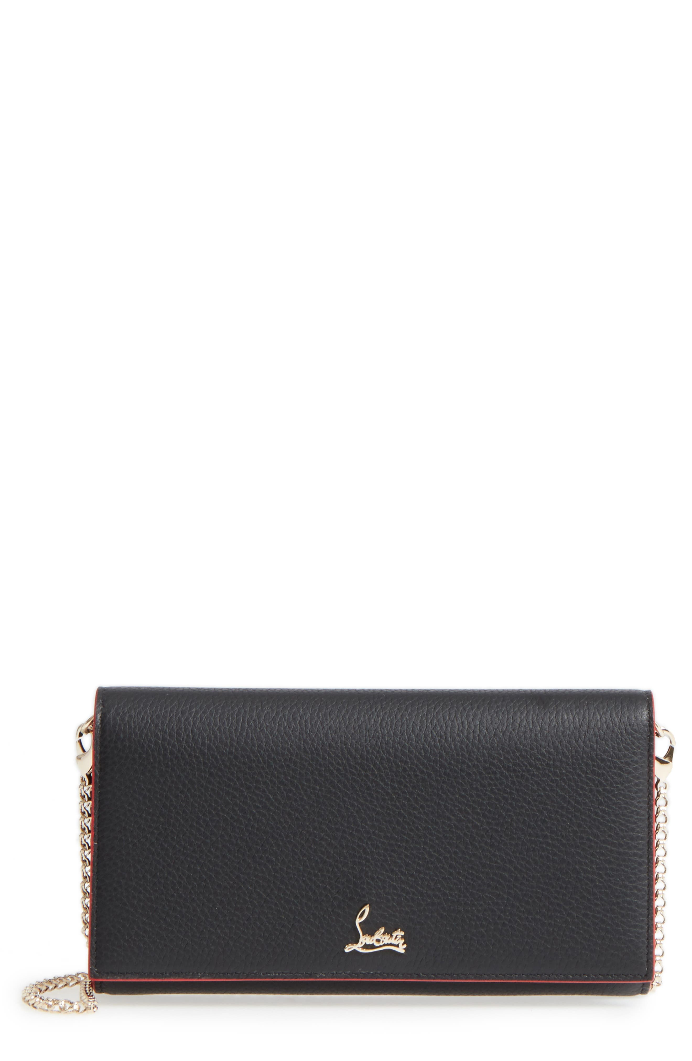 CHRISTIAN LOUBOUTIN, Boudoir Calfskin Leather Wallet, Main thumbnail 1, color, 012