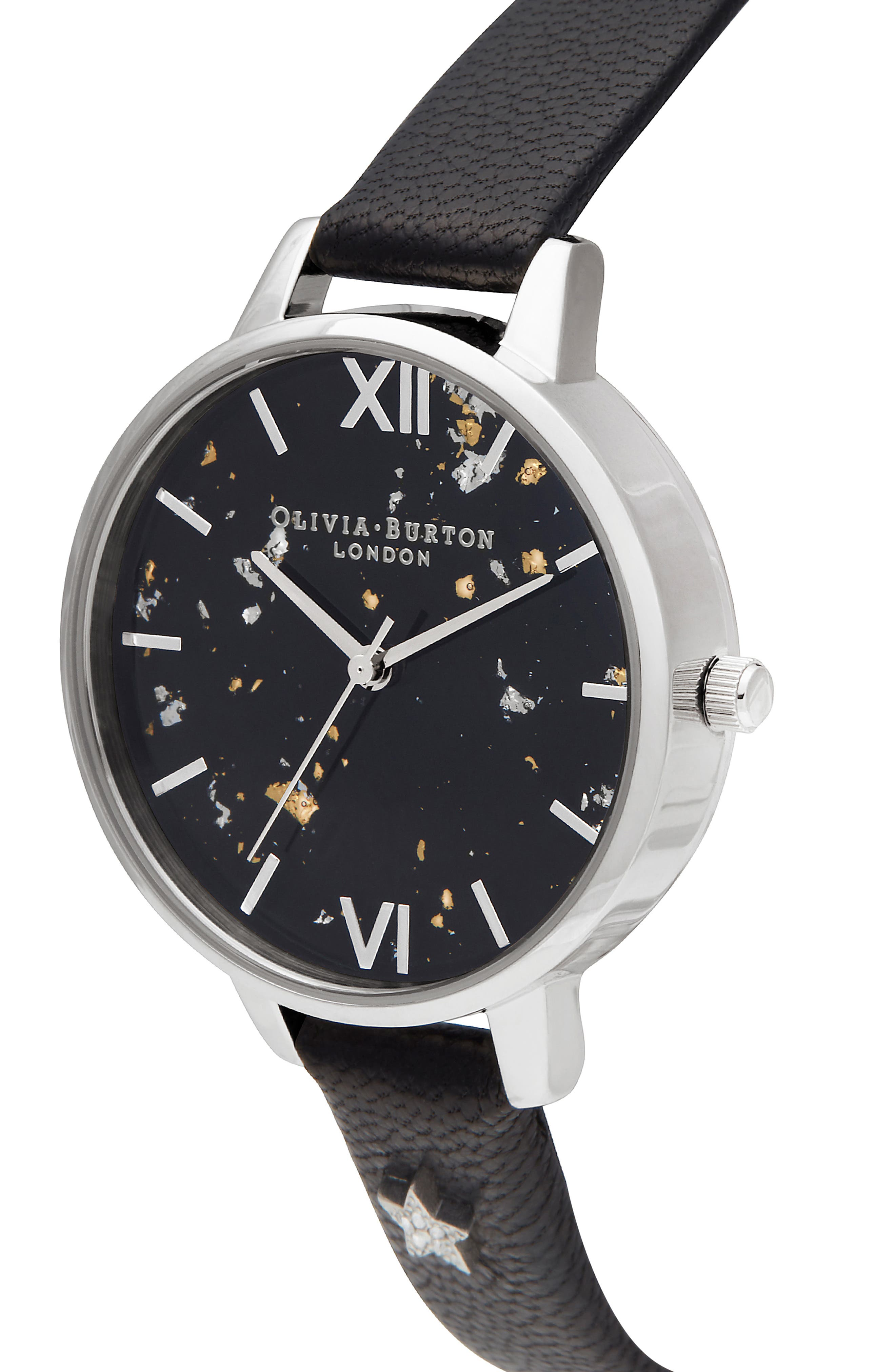 OLIVIA BURTON, Celestial Leather Strap Watch, 34mm, Alternate thumbnail 4, color, BLACK/ GOLD/ SILVER