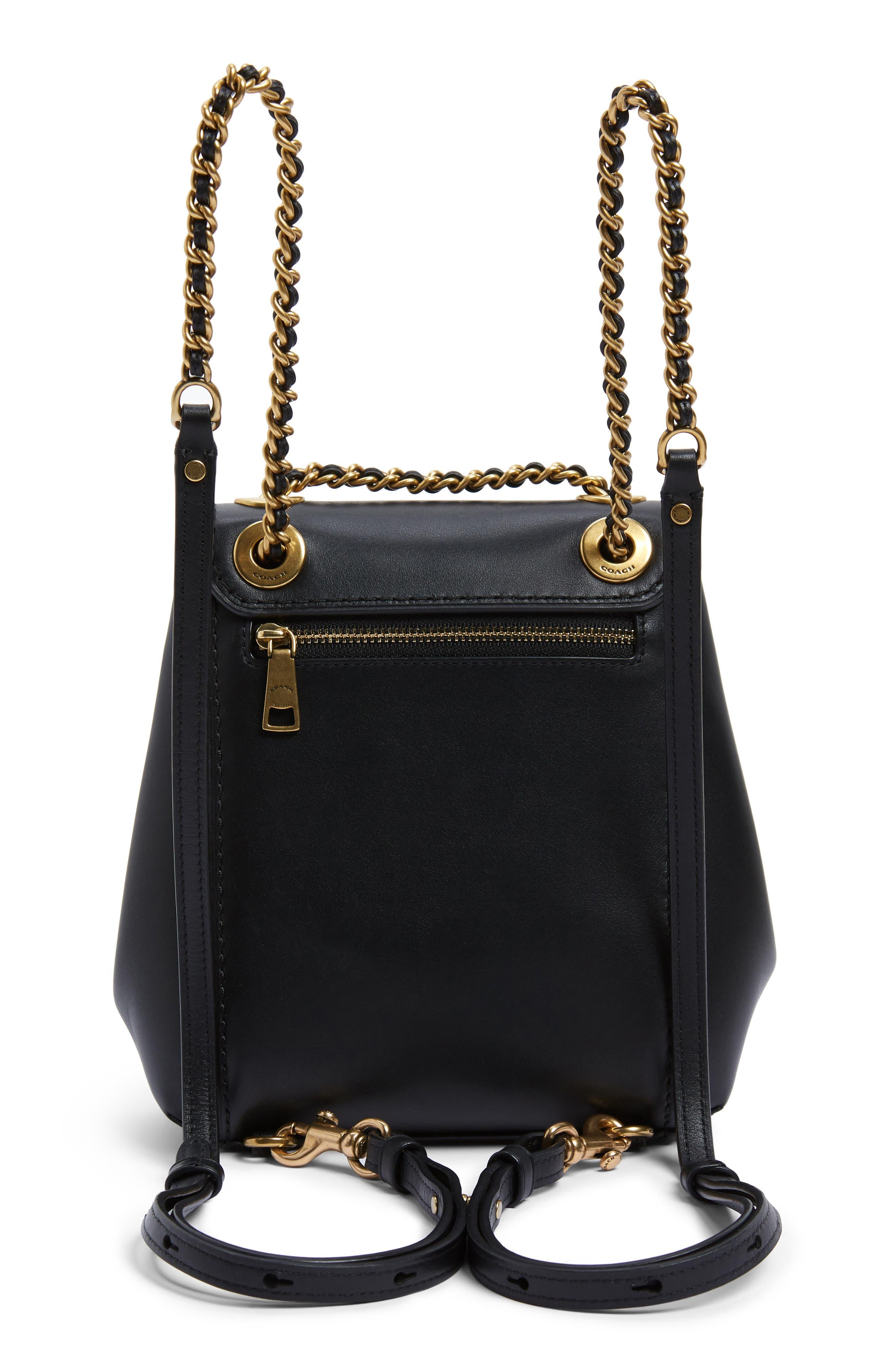 COACH, Parker 16 Convertible Calfskin Leather Backpack, Alternate thumbnail 5, color, B4/ BLACK