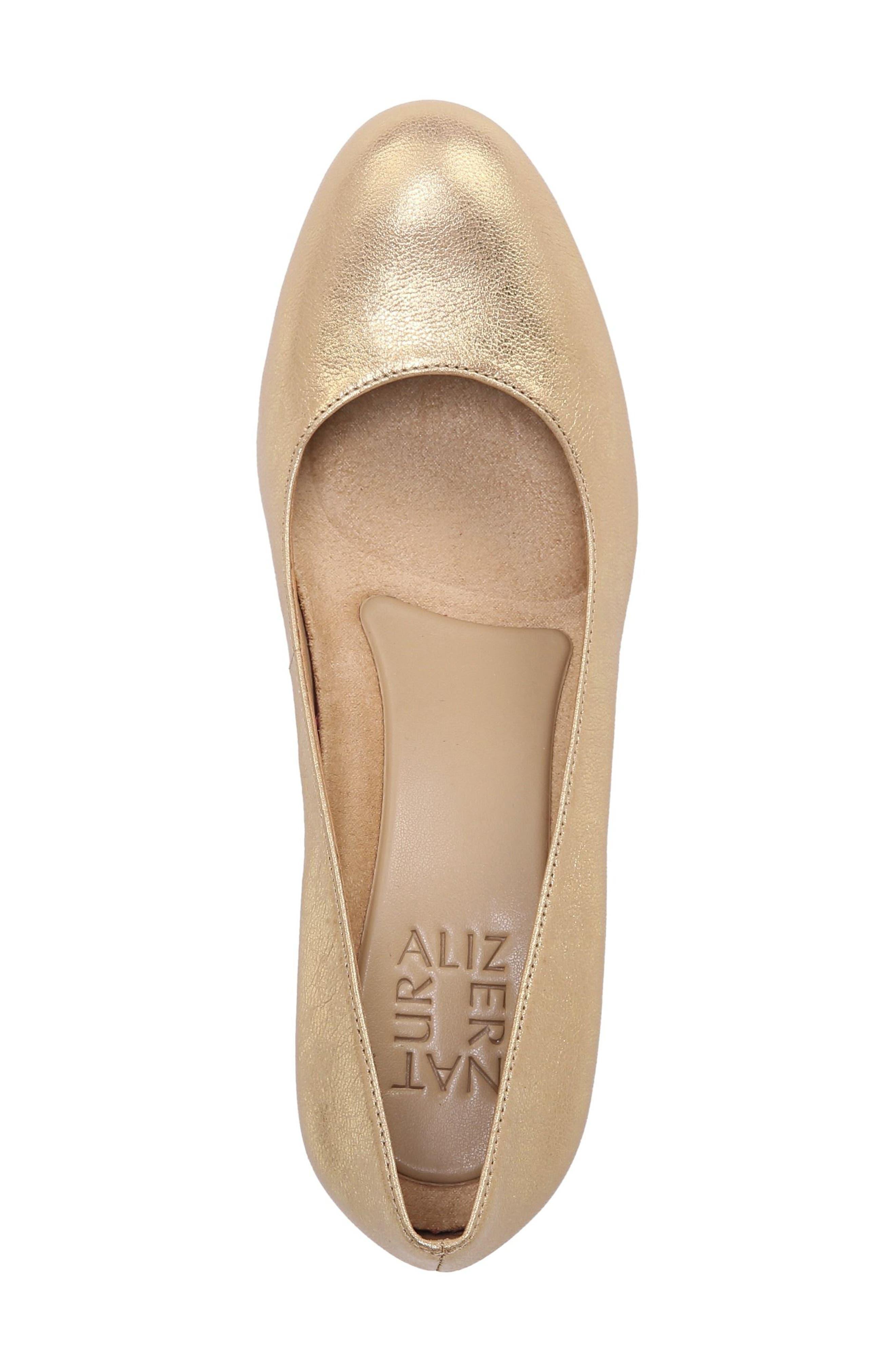 NATURALIZER, 'Michelle' Almond Toe Pump, Alternate thumbnail 5, color, GOLD LEATHER