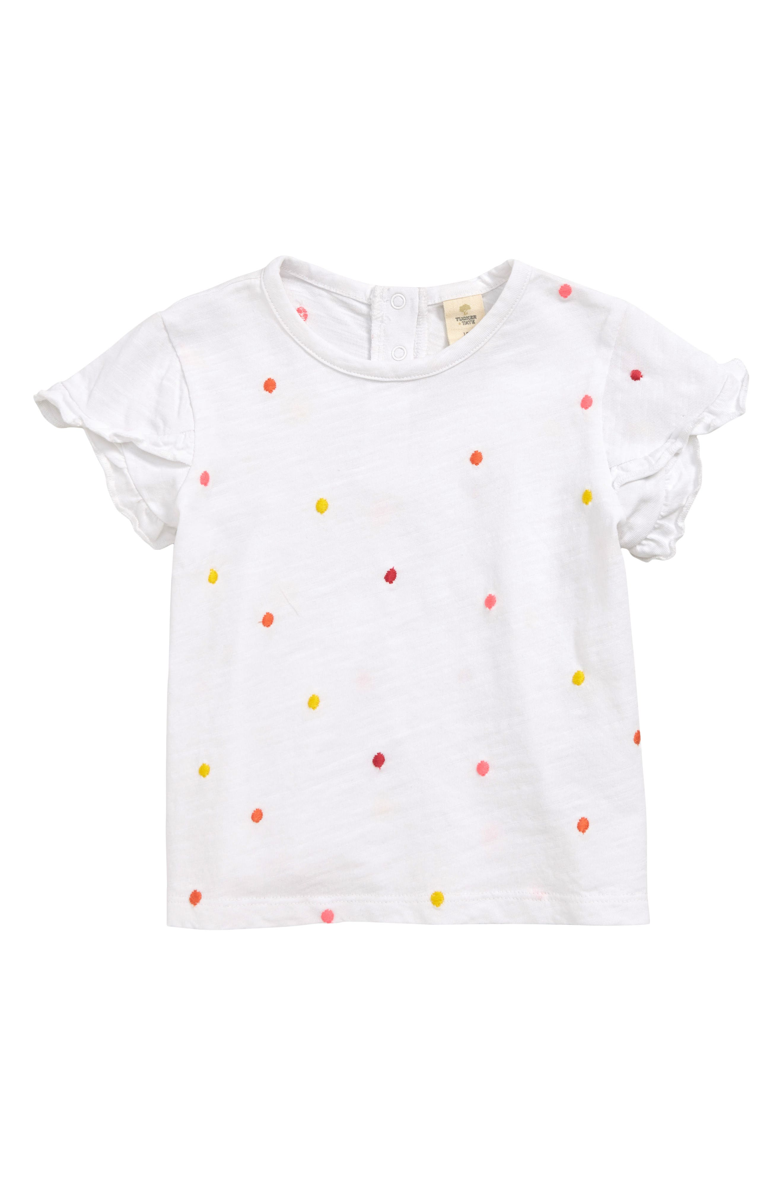 TUCKER + TATE Embroidered Dot T-Shirt, Main, color, WHITE