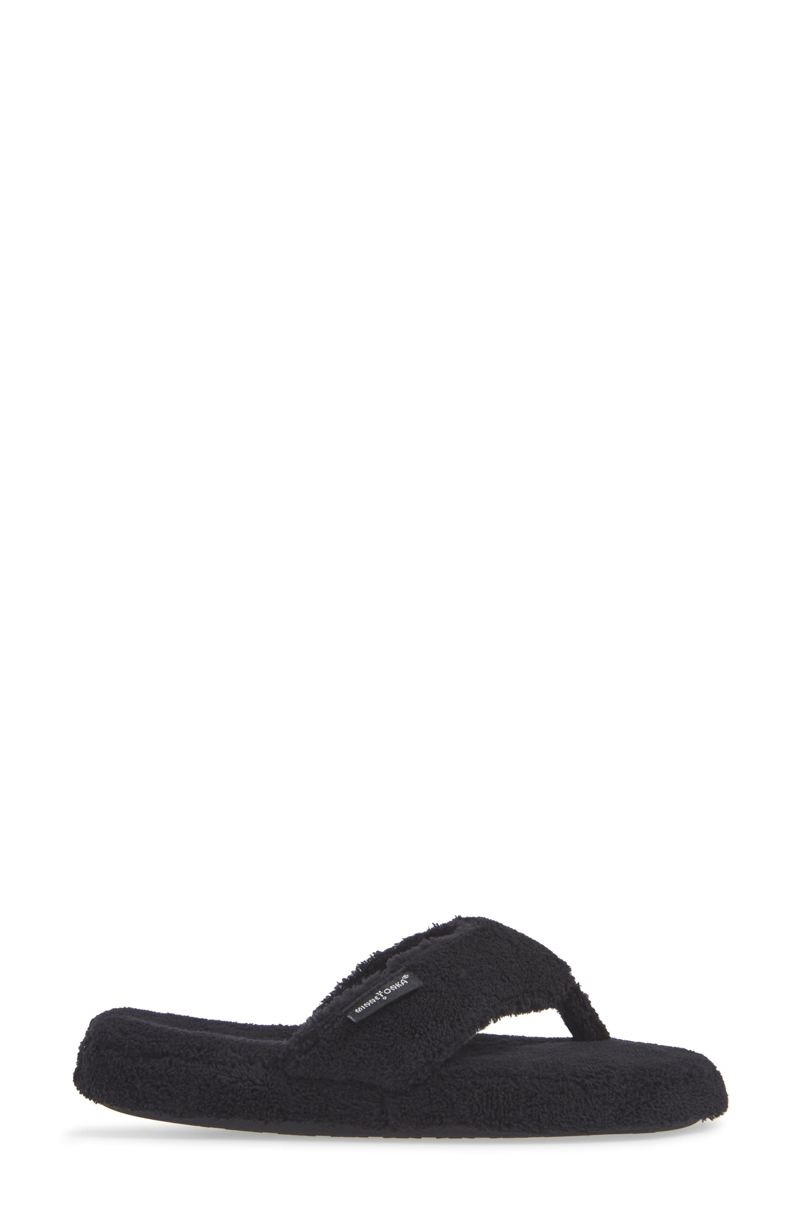 MINNETONKA, Olivia Spa Flip Flop, Alternate thumbnail 3, color, BLACK FABRIC
