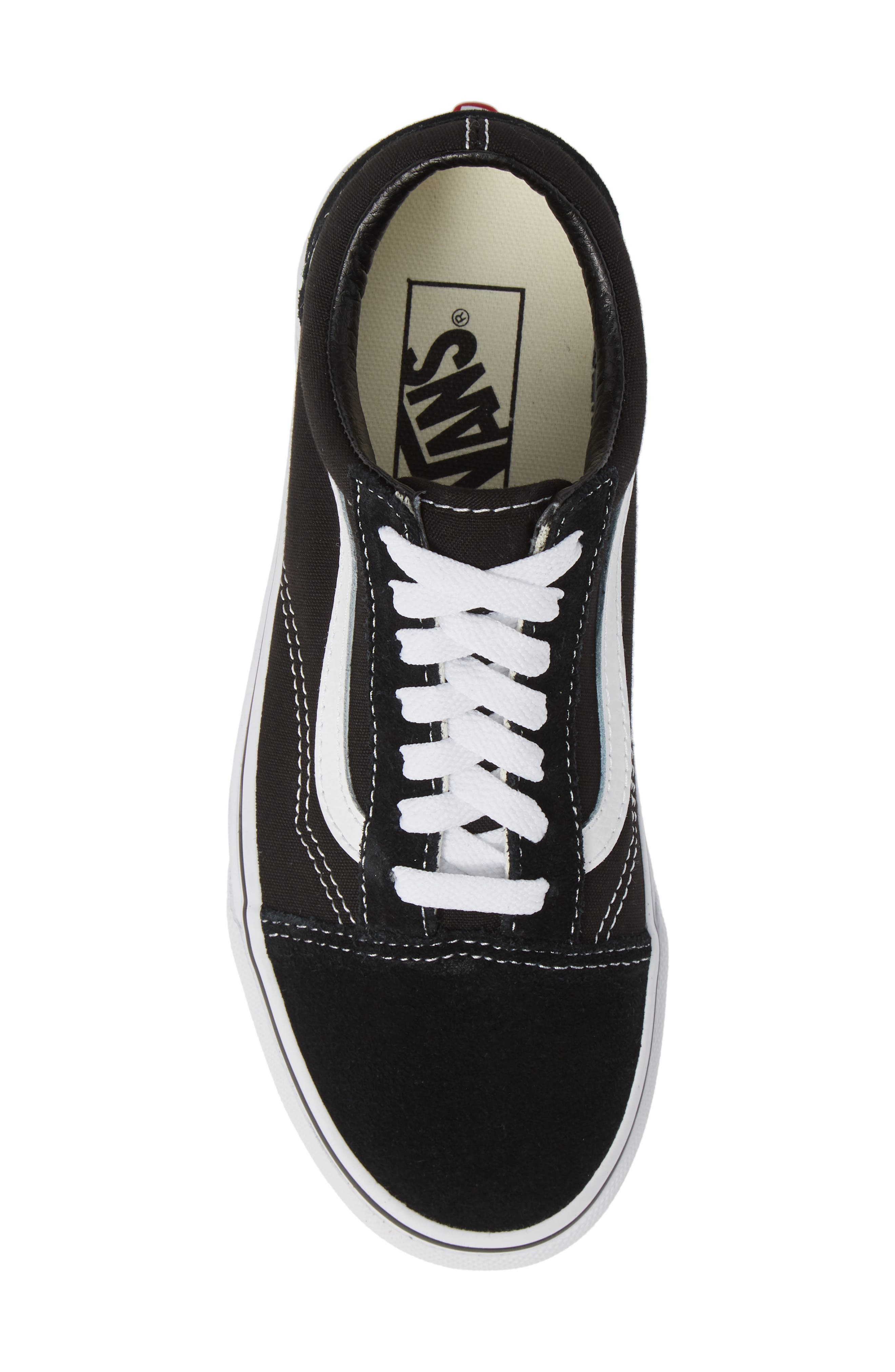 VANS, 'Old Skool' Skate Sneaker, Alternate thumbnail 5, color, BLACK/ WHITE SUEDE CANVAS