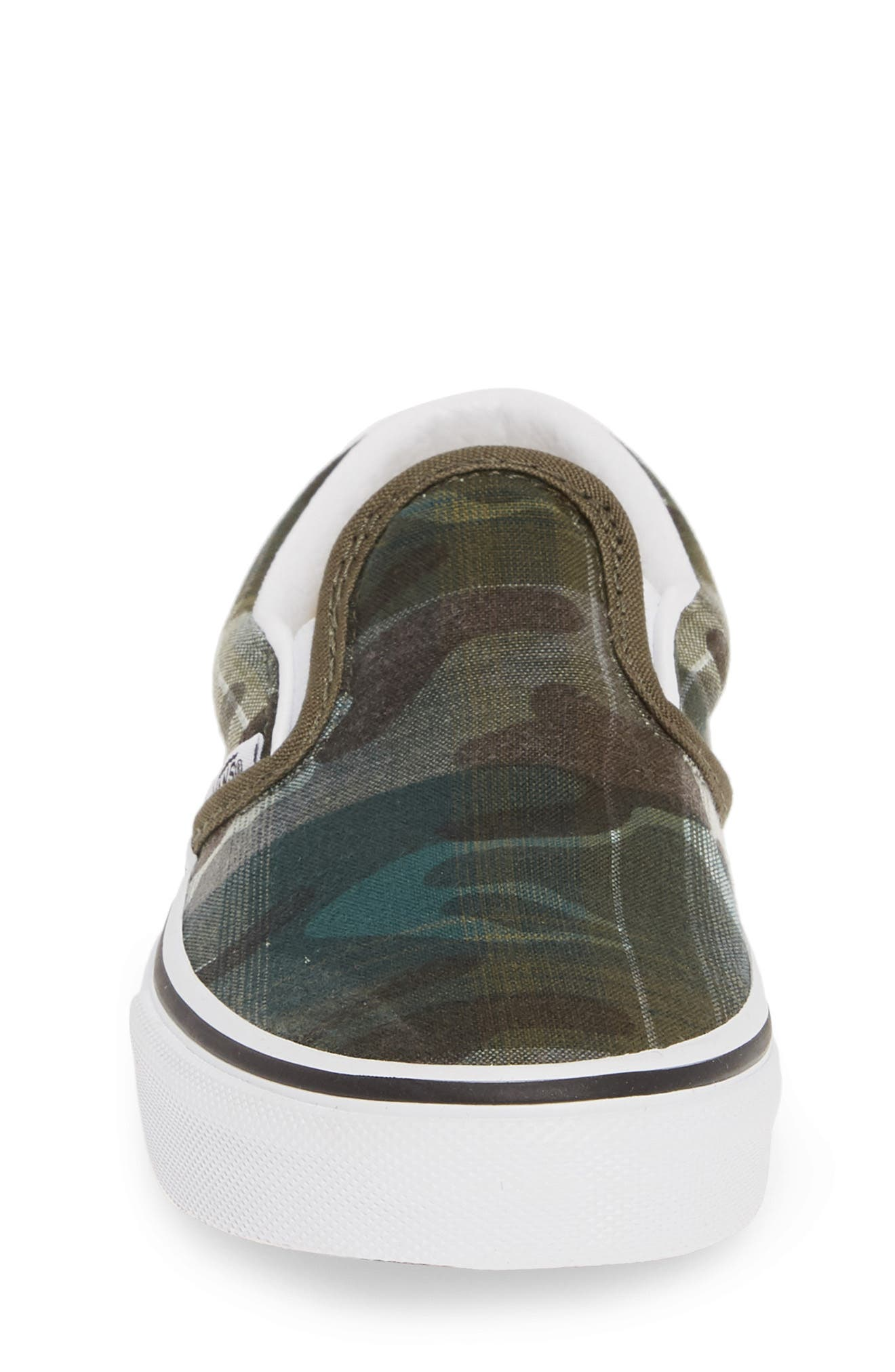 VANS, 'Classic' Slip-On, Alternate thumbnail 4, color, PLAID CAMO GRAPE LEAF/ WHITE