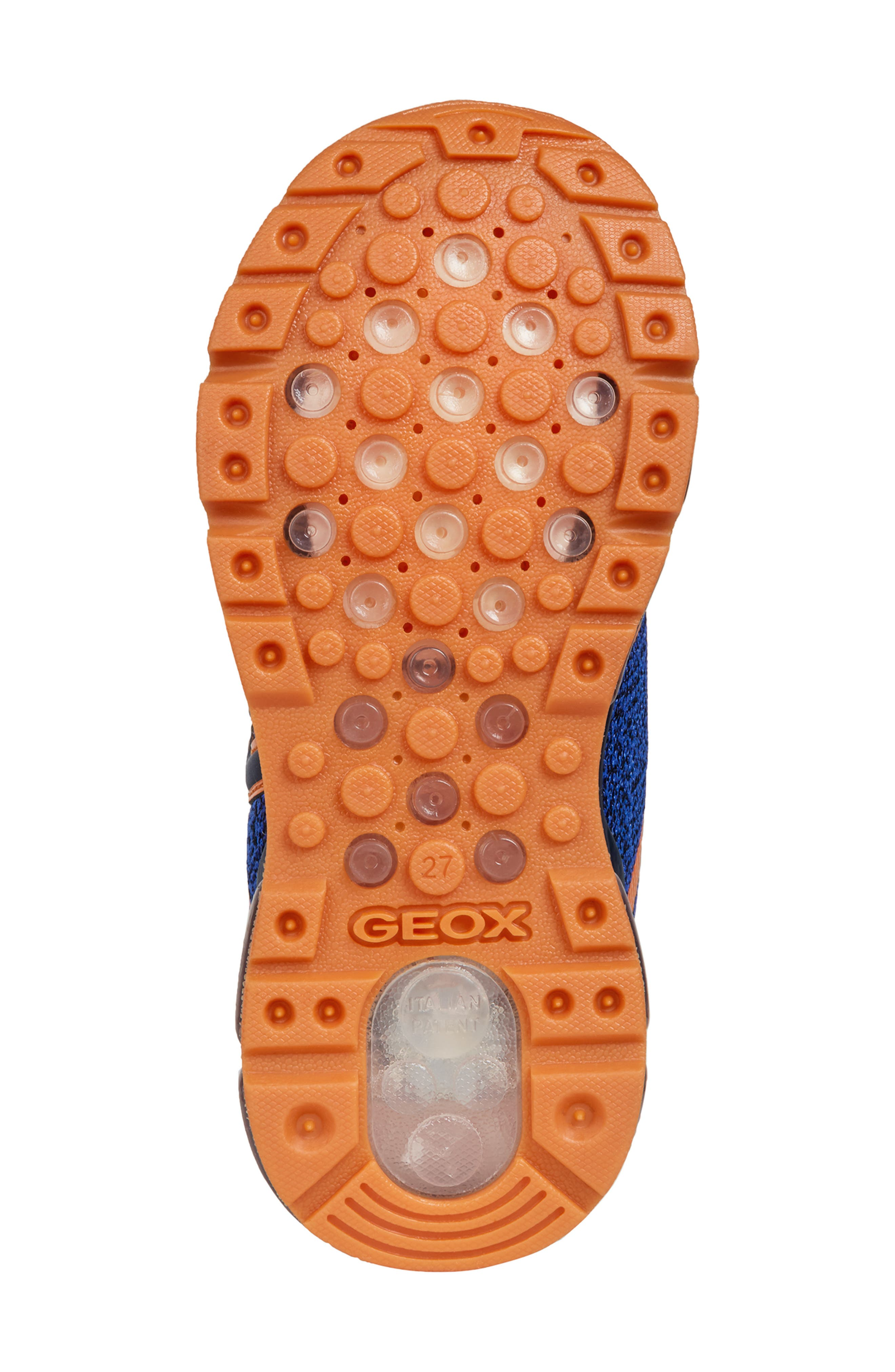 GEOX, Android 19 Light-Up Sneaker, Alternate thumbnail 6, color, NAVY/ ORANGE