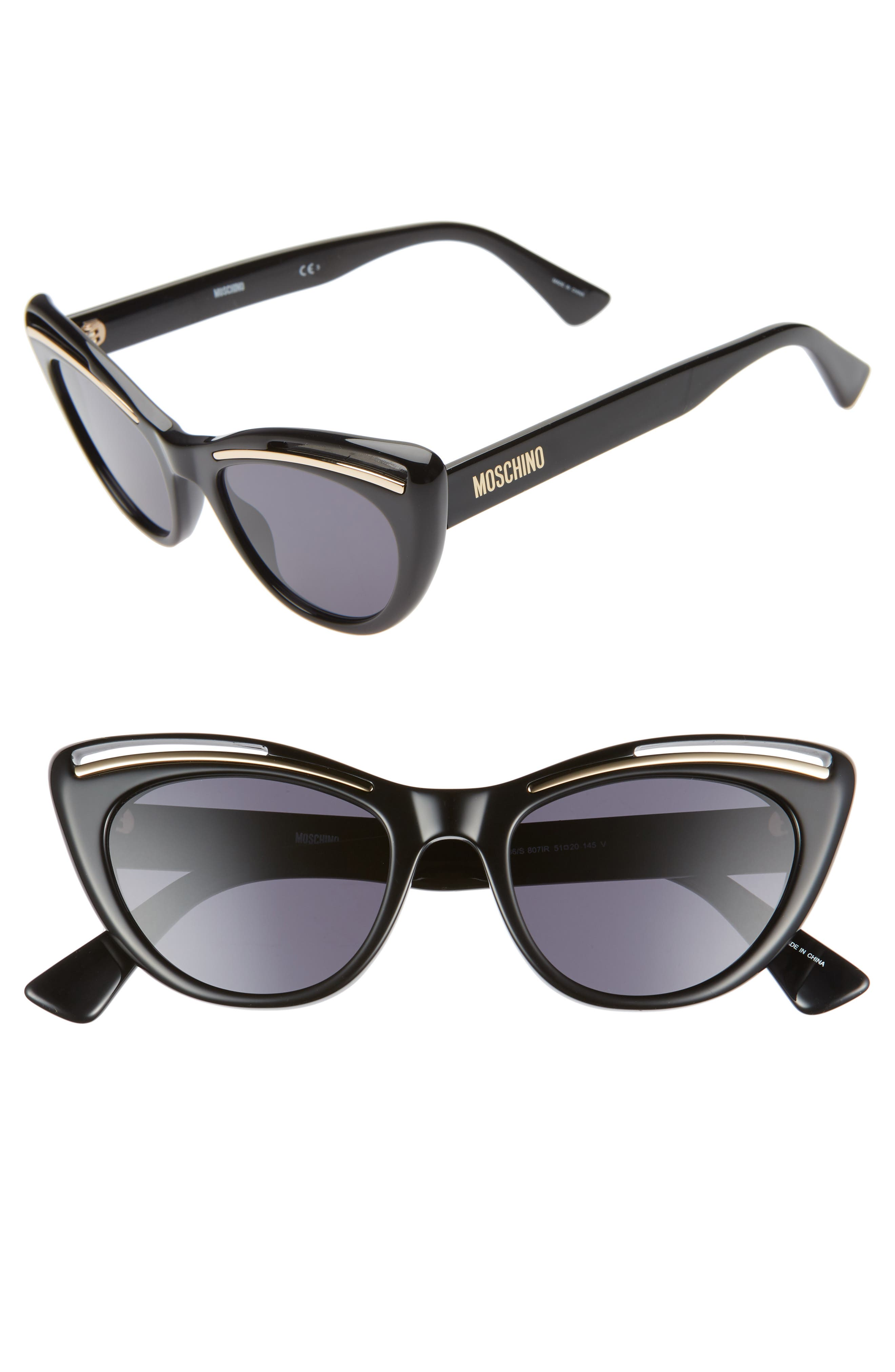 MOSCHINO, 51mm Cat Eye Sunglasses, Main thumbnail 1, color, BLACK