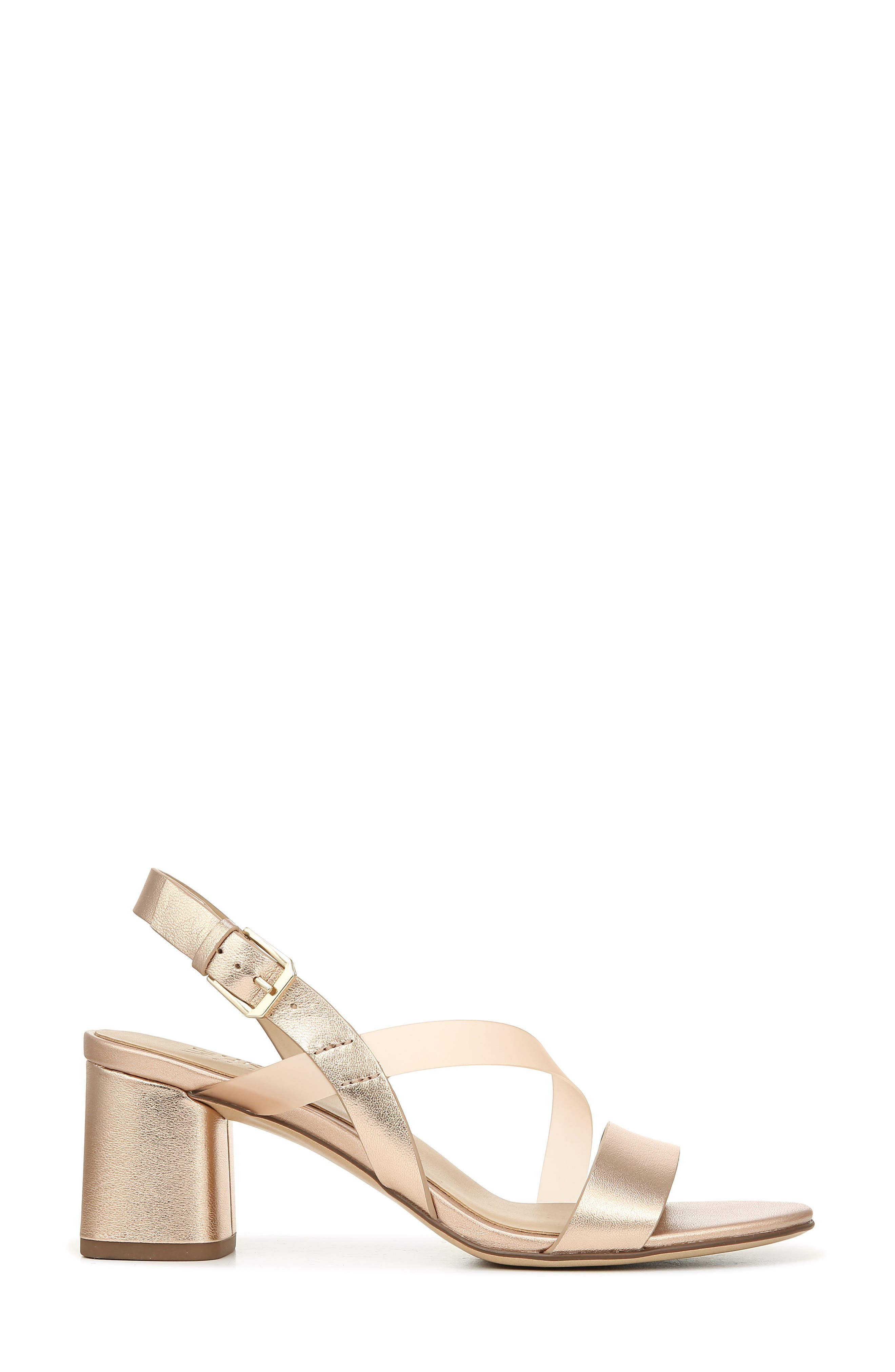 NATURALIZER, Arianna Block Heel Sandal, Alternate thumbnail 3, color, ROSE GOLD LEATHER
