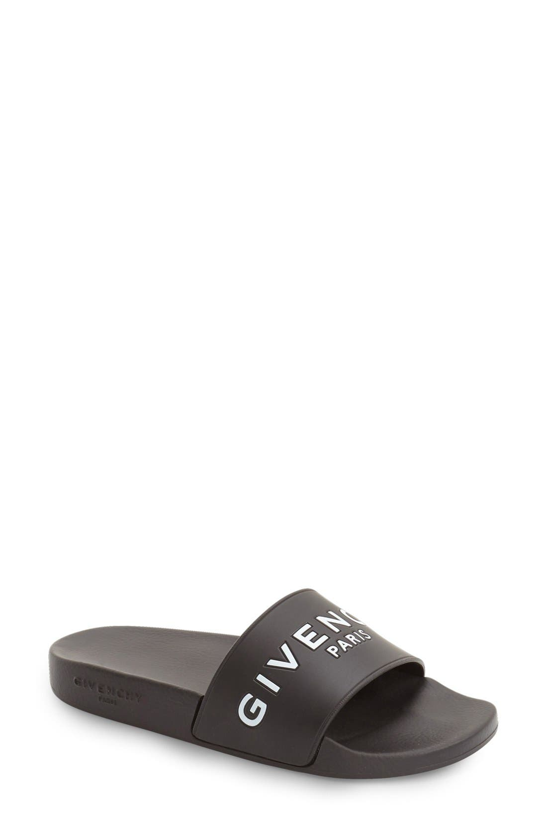 GIVENCHY Logo Slide, Main, color, BLACK