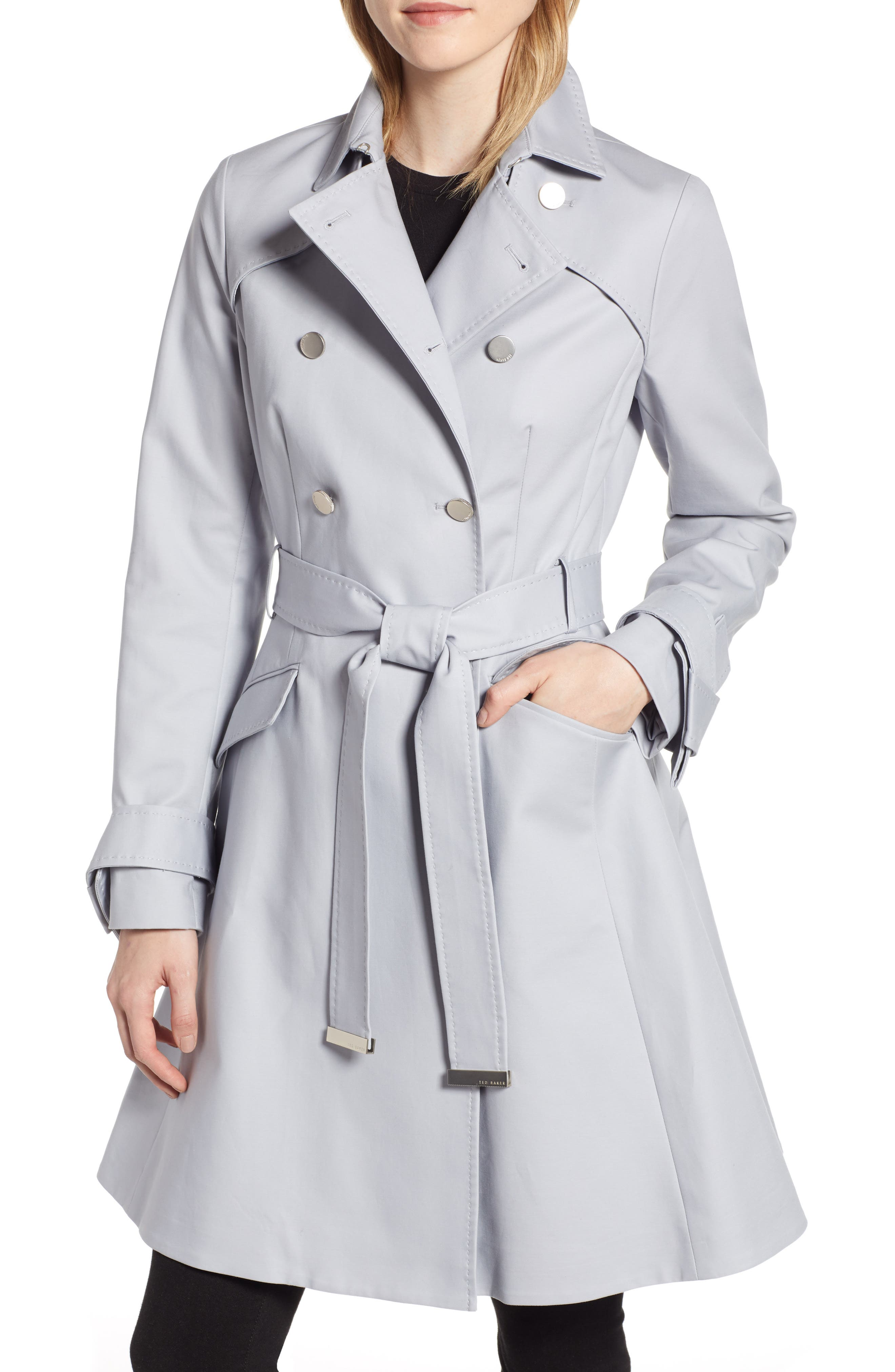 TED BAKER LONDON Tie Cuff Detail Trench Coat, Main, color, GREY