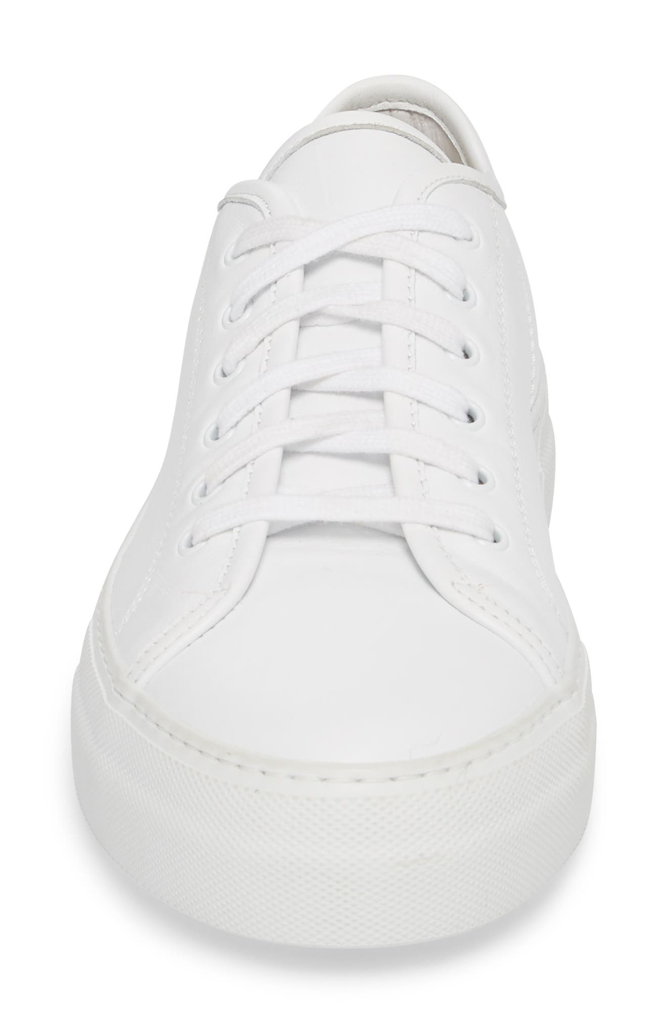 COMMON PROJECTS, Tournament Low Top Sneaker, Alternate thumbnail 4, color, WHITE
