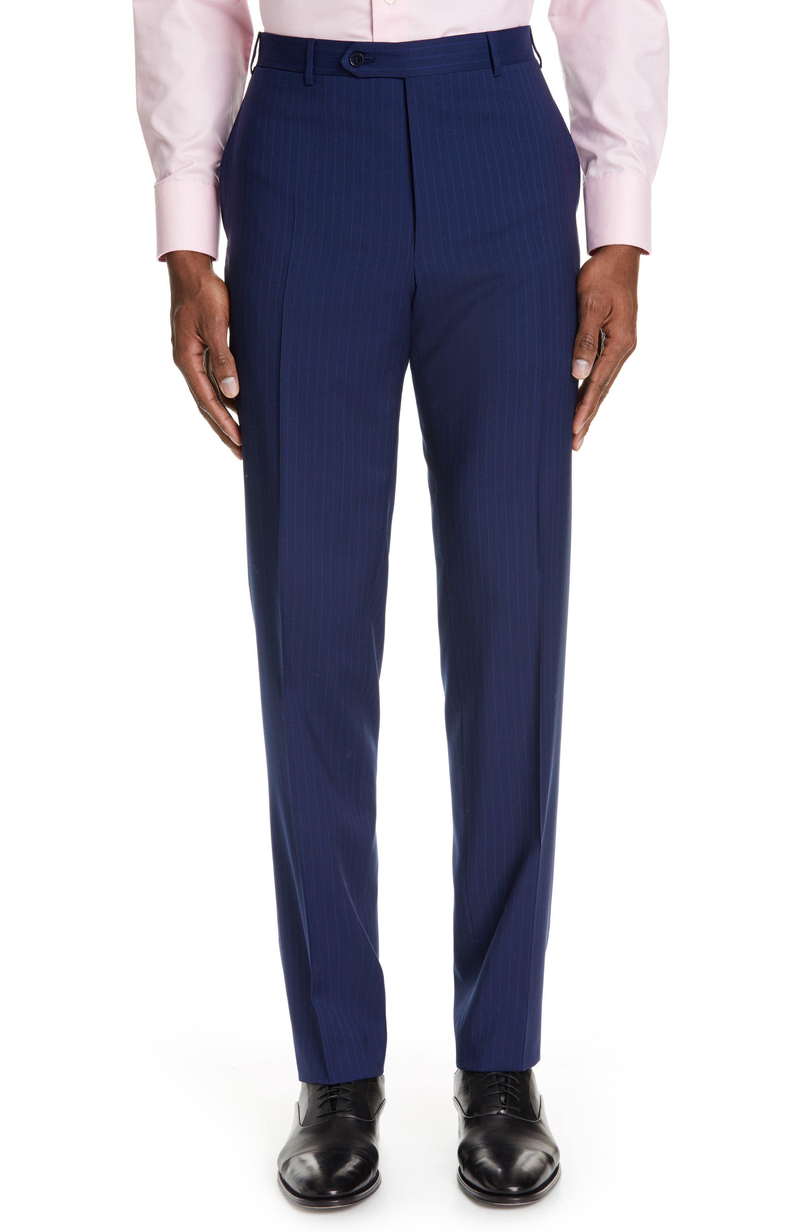 CANALI, Sienna Classic Fit Stripe Wool Suit, Alternate thumbnail 6, color, BLUE