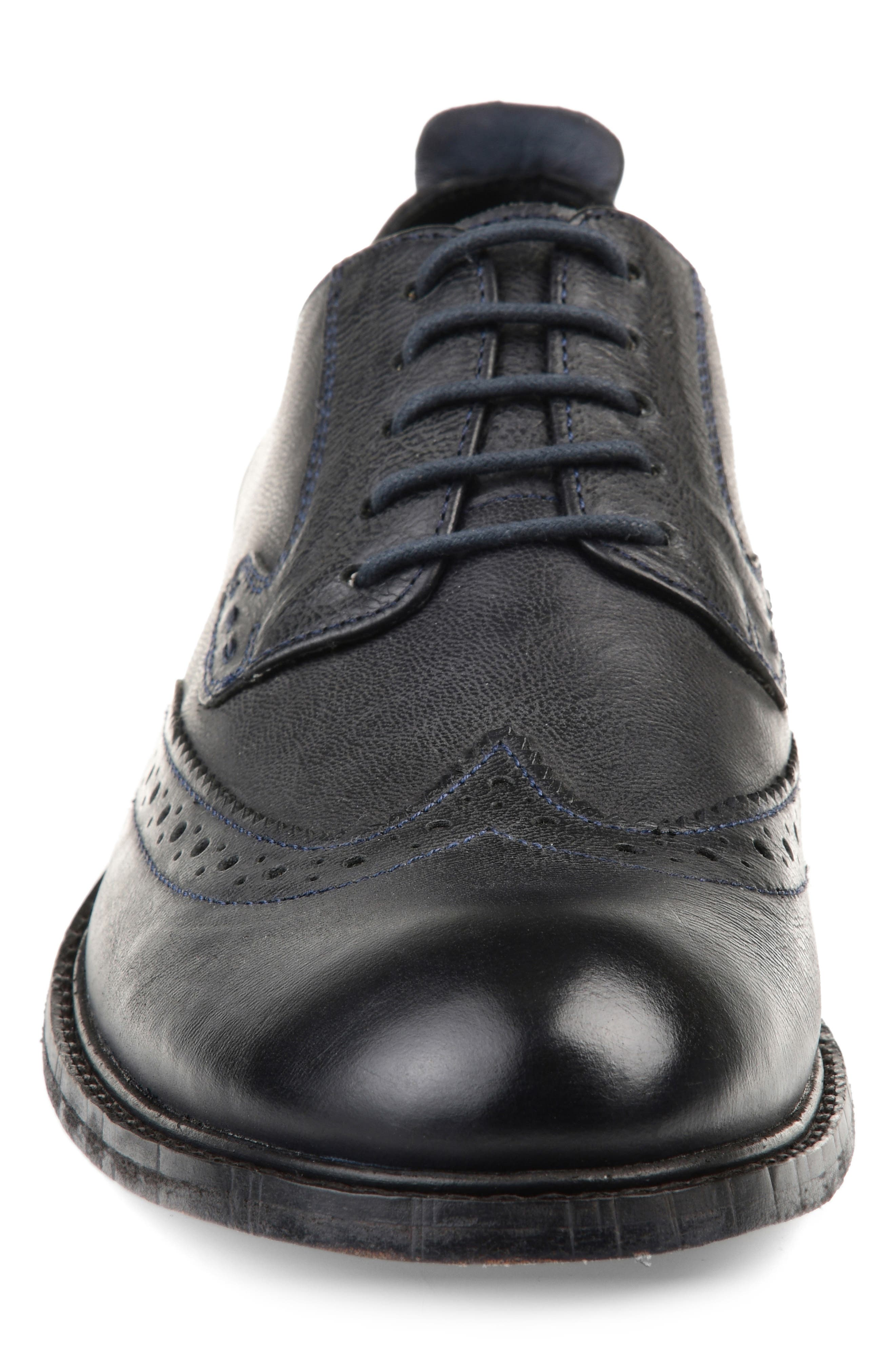 THOMAS AND VINE, Uriah Wingtip Derby, Alternate thumbnail 4, color, BLACK LEATHER