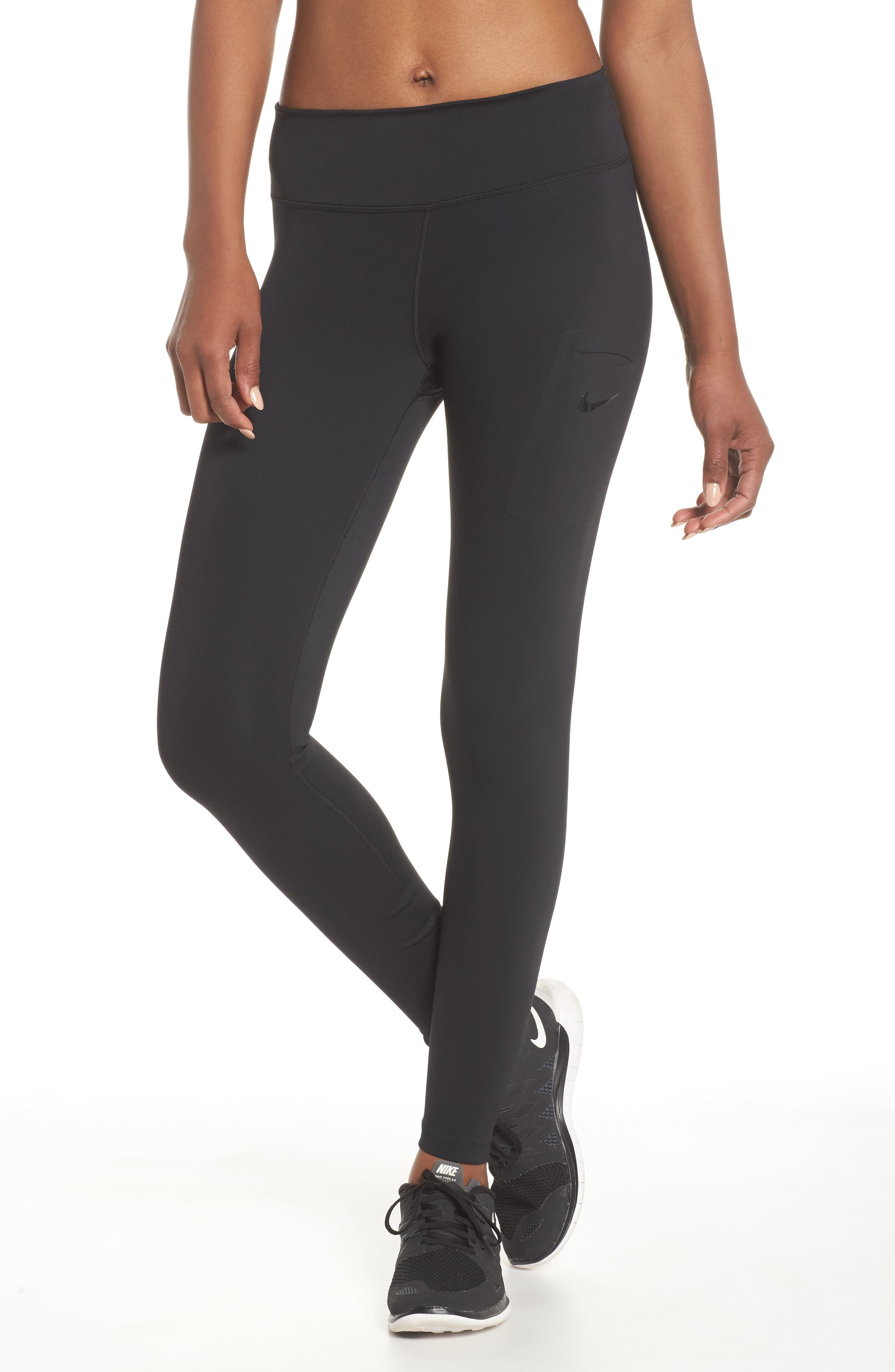 NIKE, Power Tights, Main thumbnail 1, color, BLACK/ CLEAR
