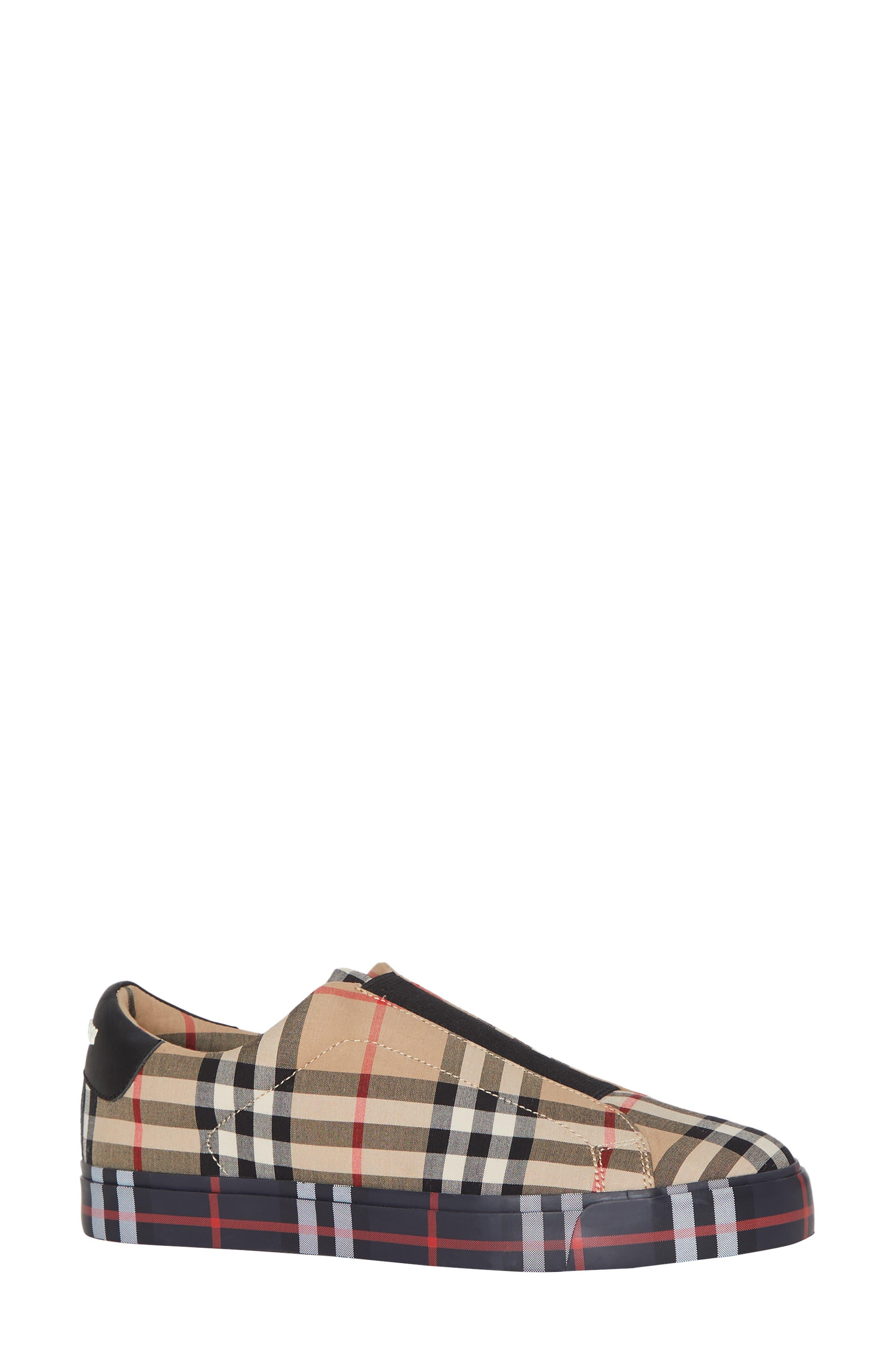 BURBERRY, Markham Vintage Check Slip-On Sneaker, Main thumbnail 1, color, BEIGE PLAID