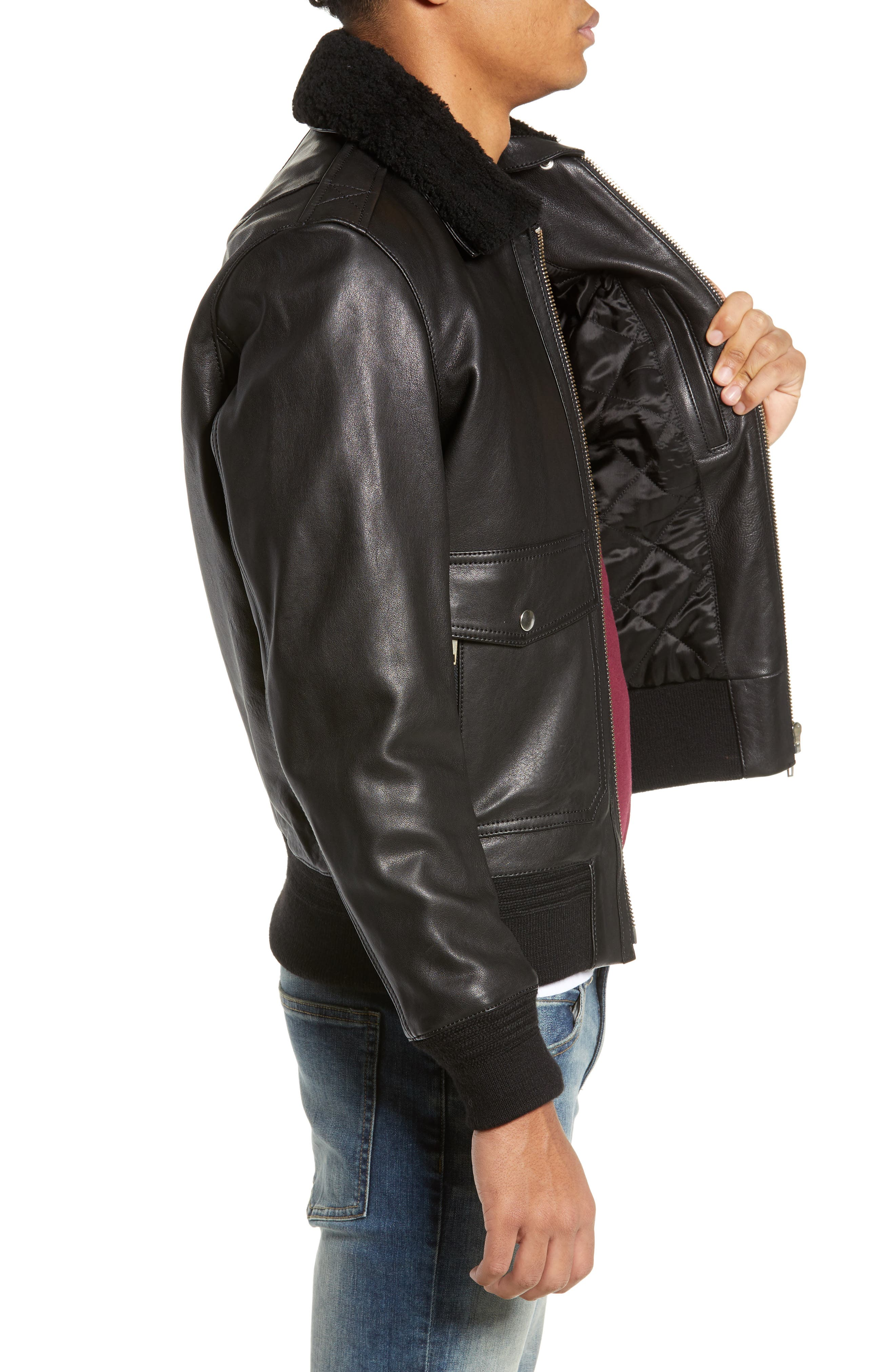 THE KOOPLES, Teddy Leather Jacket with Removable Genuine Lamb Shearling Trim, Alternate thumbnail 4, color, 001