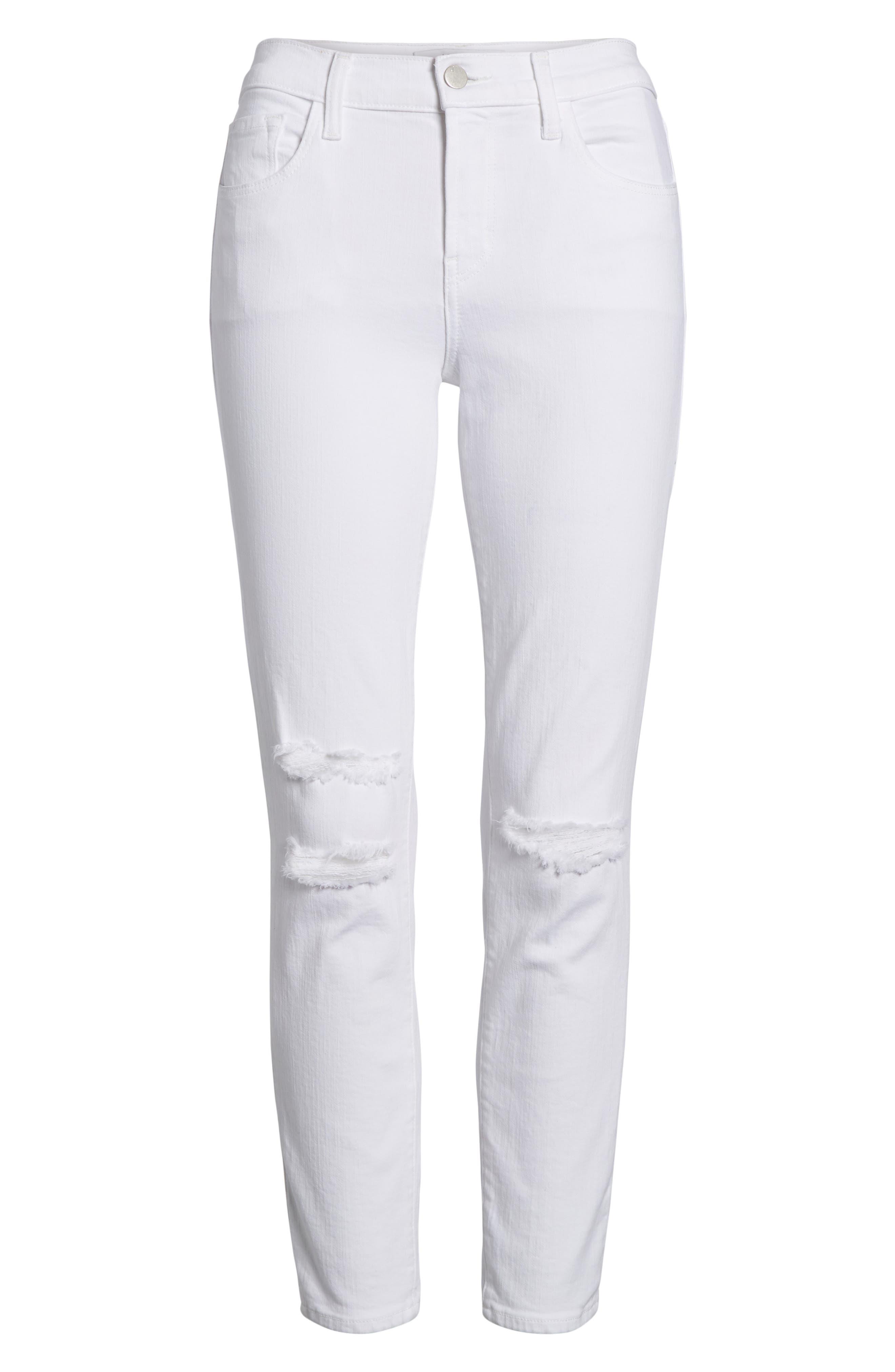 J BRAND, Mid-Rise Capri Skinny Jeans, Alternate thumbnail 7, color, 101