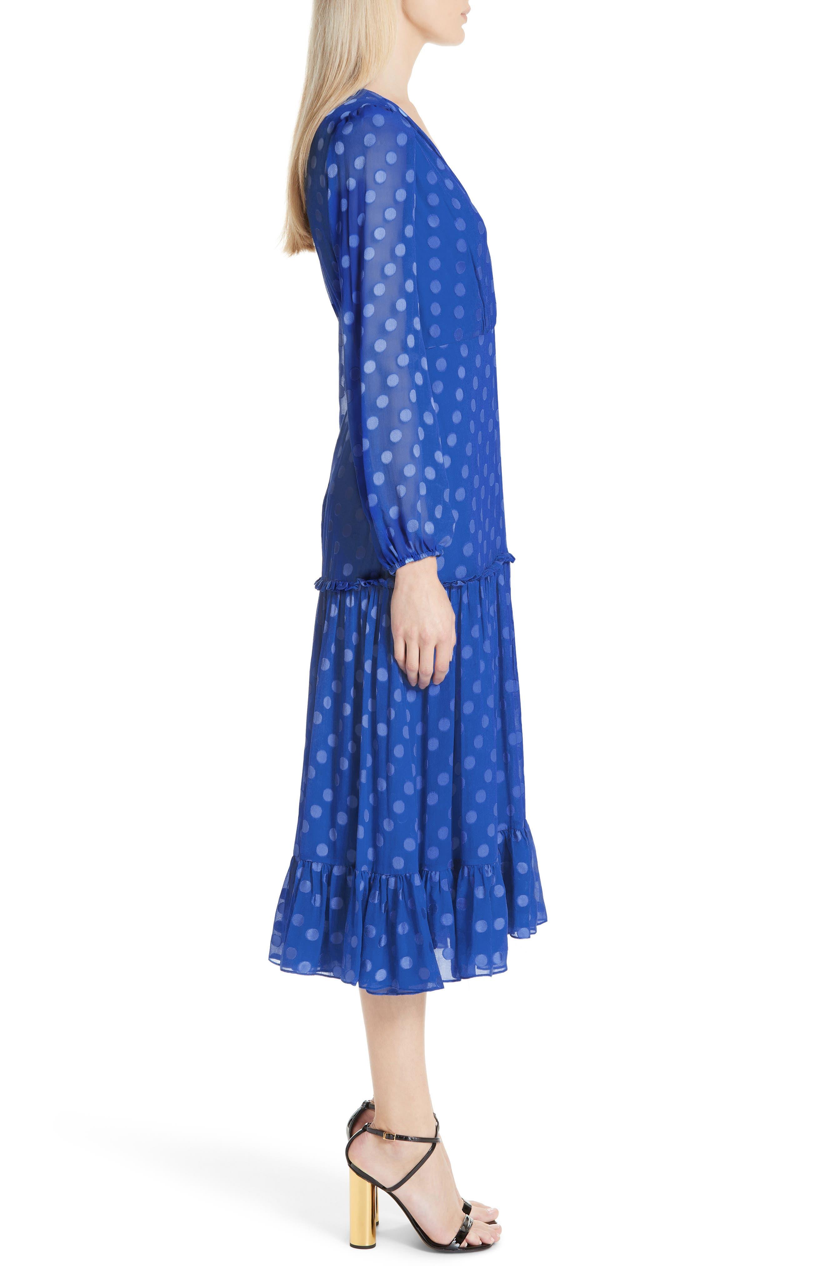 SALONI, Polka Dot Ruffle Dress, Alternate thumbnail 3, color, COBALT BLUE