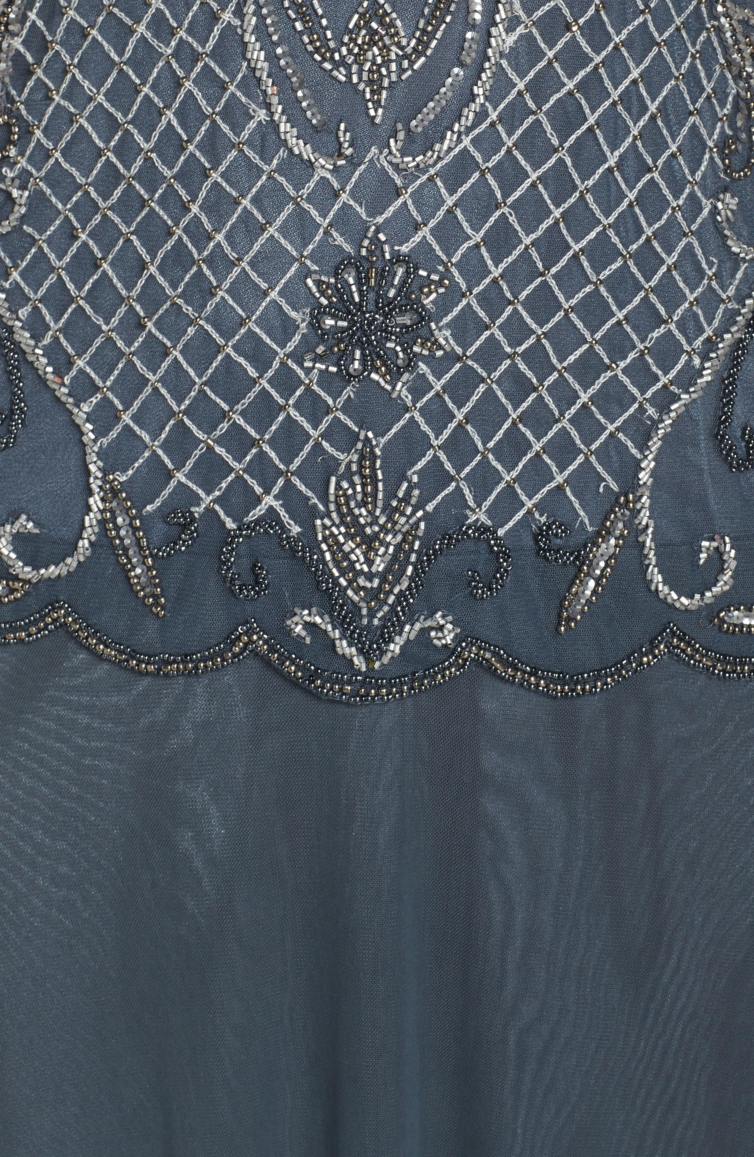 PISARRO NIGHTS, Mock Two-Piece Beaded Bodice Evening Dress, Alternate thumbnail 6, color, SLATE