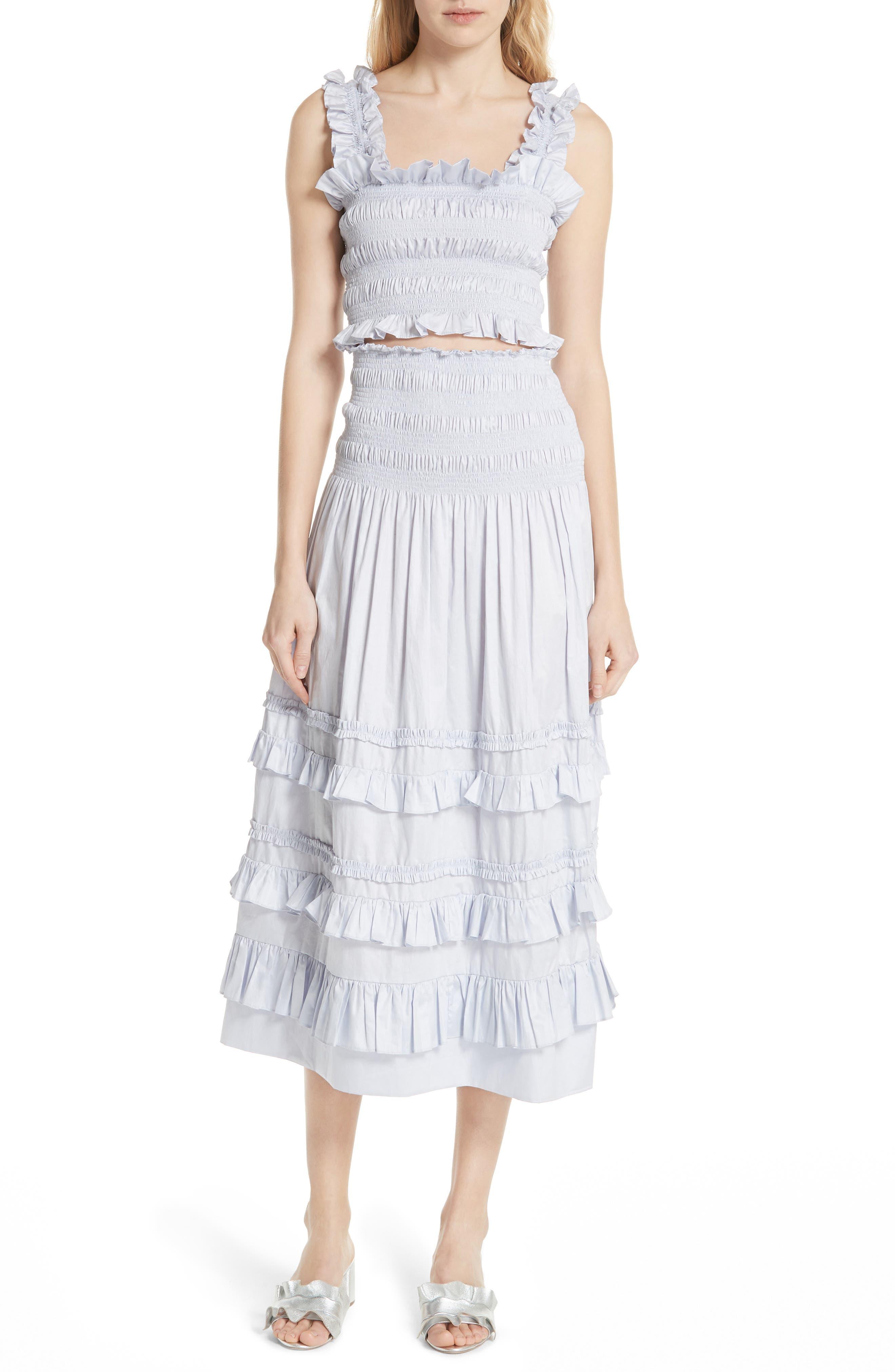 REBECCA TAYLOR, Smocked Sleeveless Cotton Top, Alternate thumbnail 7, color, 458