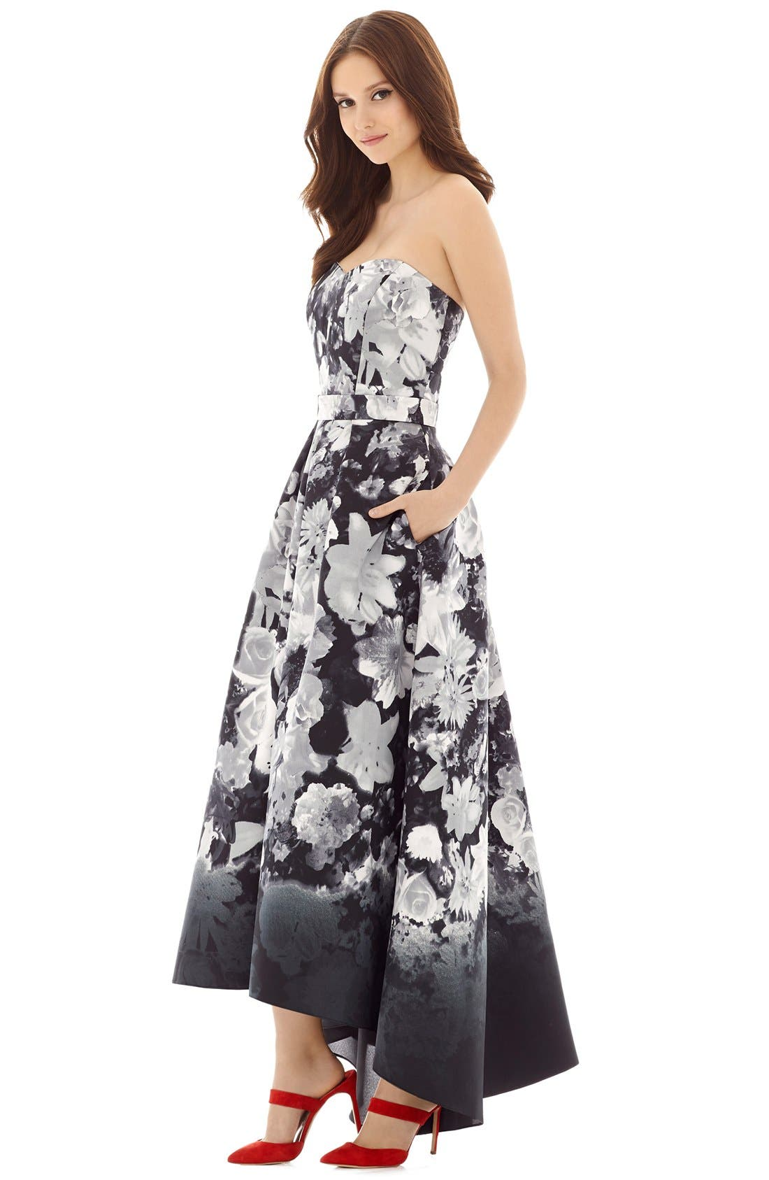 ALFRED SUNG, Floral Print Strapless Sateen High/Low Dress, Alternate thumbnail 4, color, BOHO